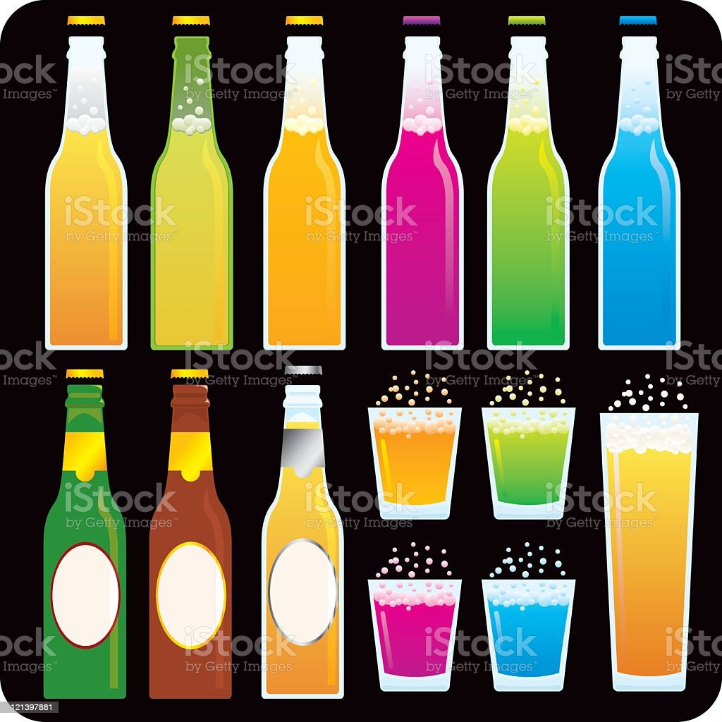 Beer and Soda Bottles vector art illustration