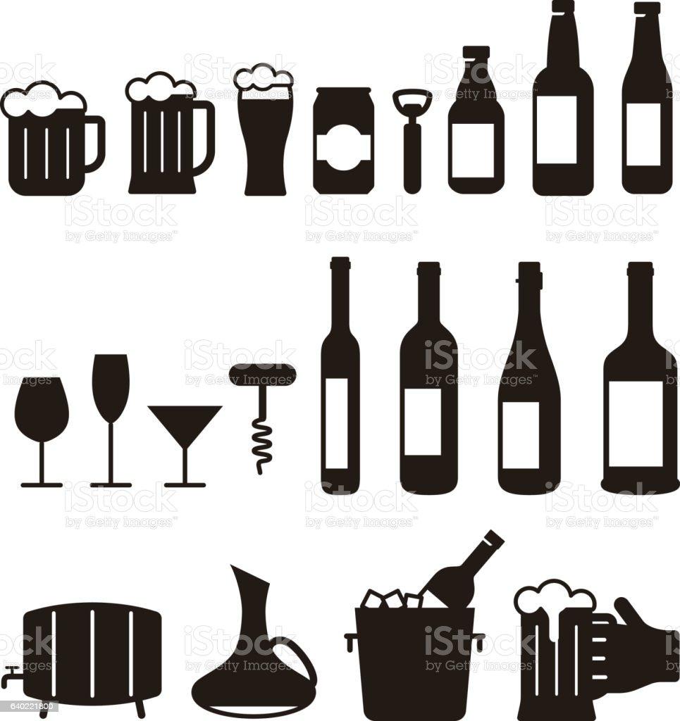 beer and wine drink icon set, vector illustration vector art illustration