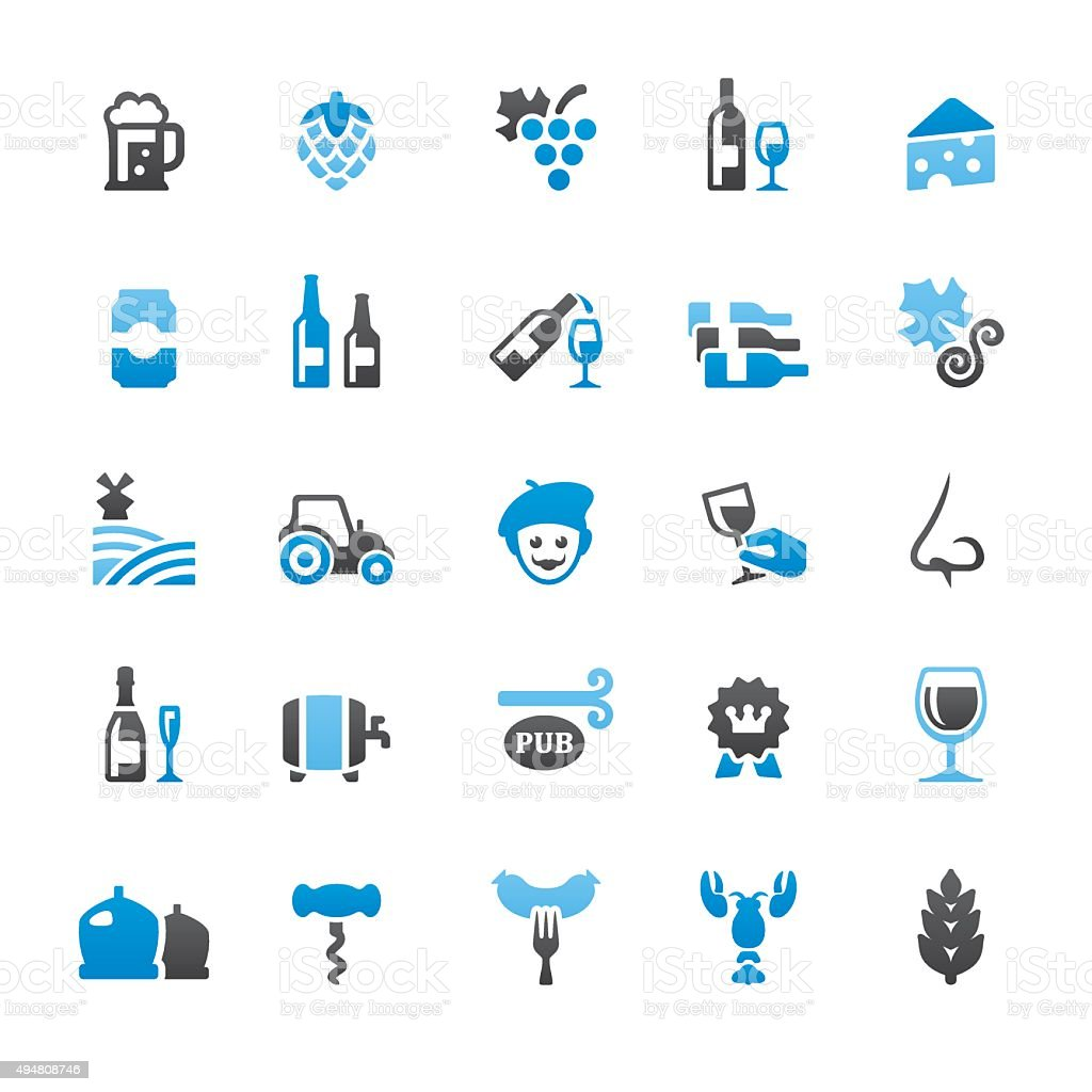 Beer and Wine related vector icons vector art illustration