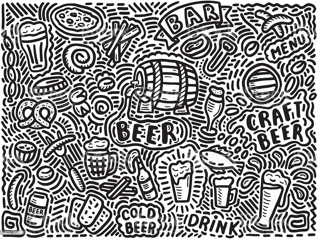 beer background in doodle style vector art illustration
