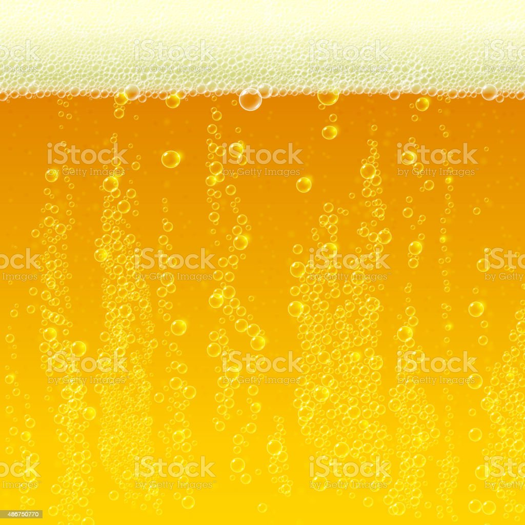 Beer background texture with foam and bubbles vector art illustration