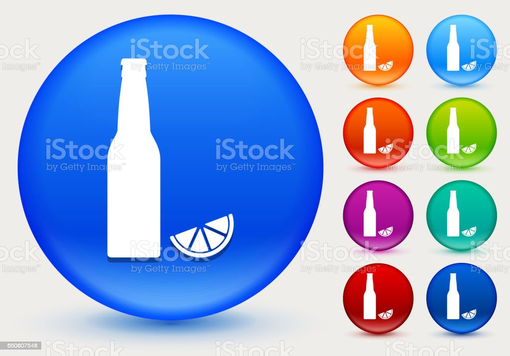 Beer Bottle and Lime Icon on Shiny Color Circle Buttons vector art illustration