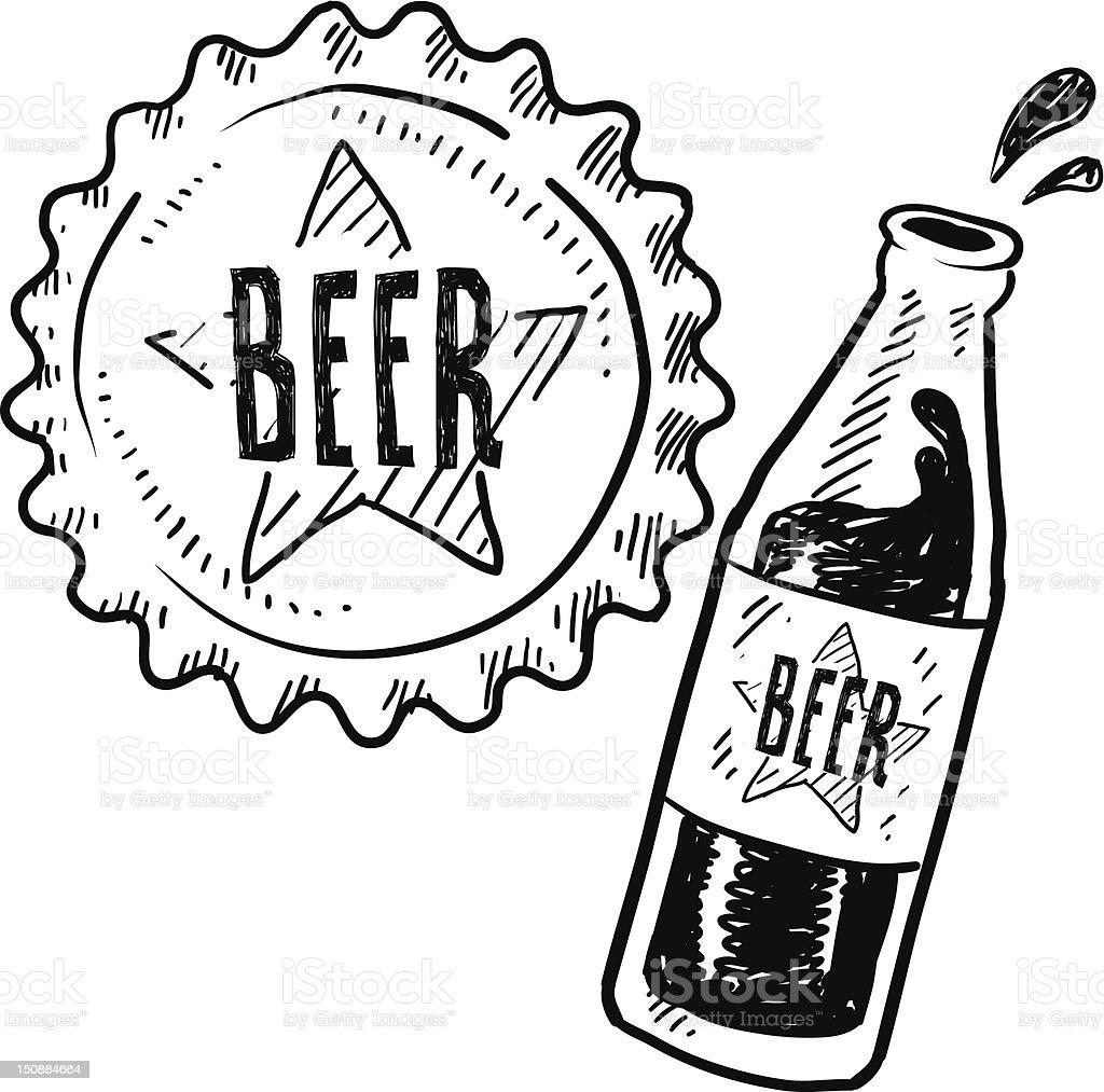 Beer bottle and metal cap sketch vector art illustration