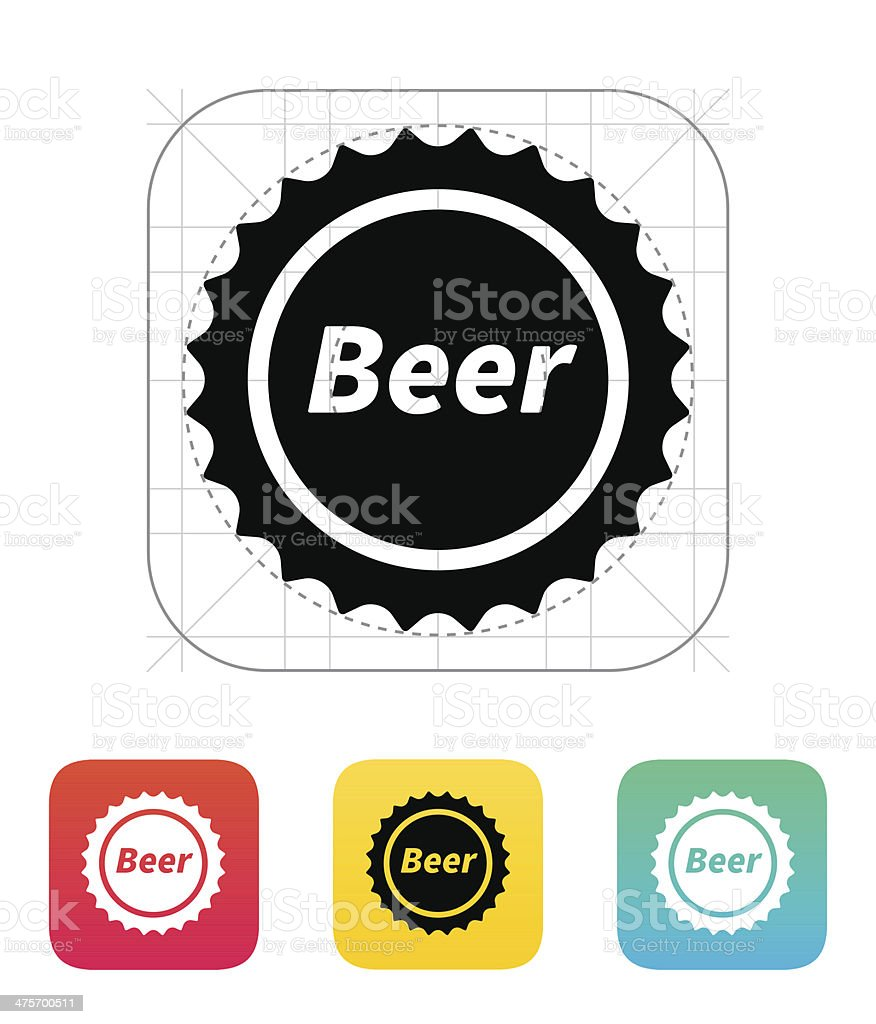 Beer bottle cup icon. vector art illustration