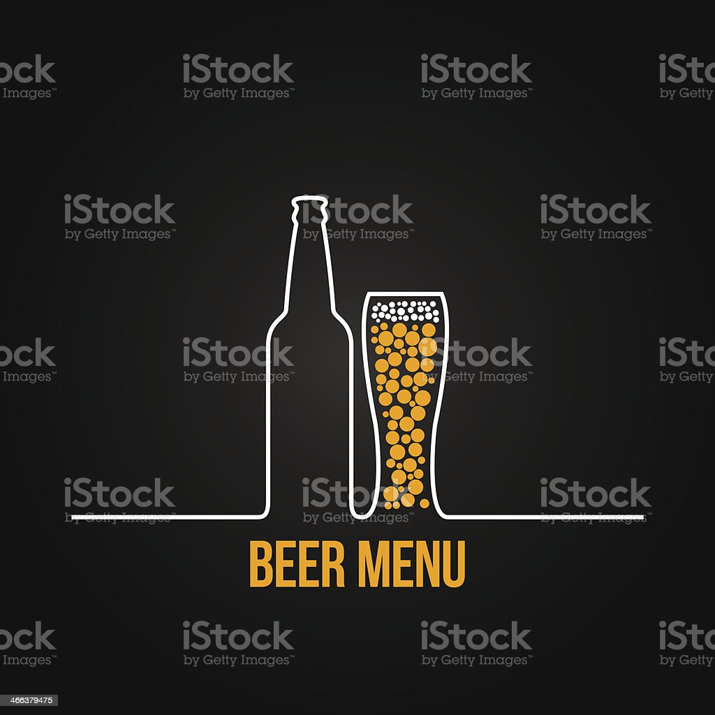 beer bottle glass deign background vector art illustration