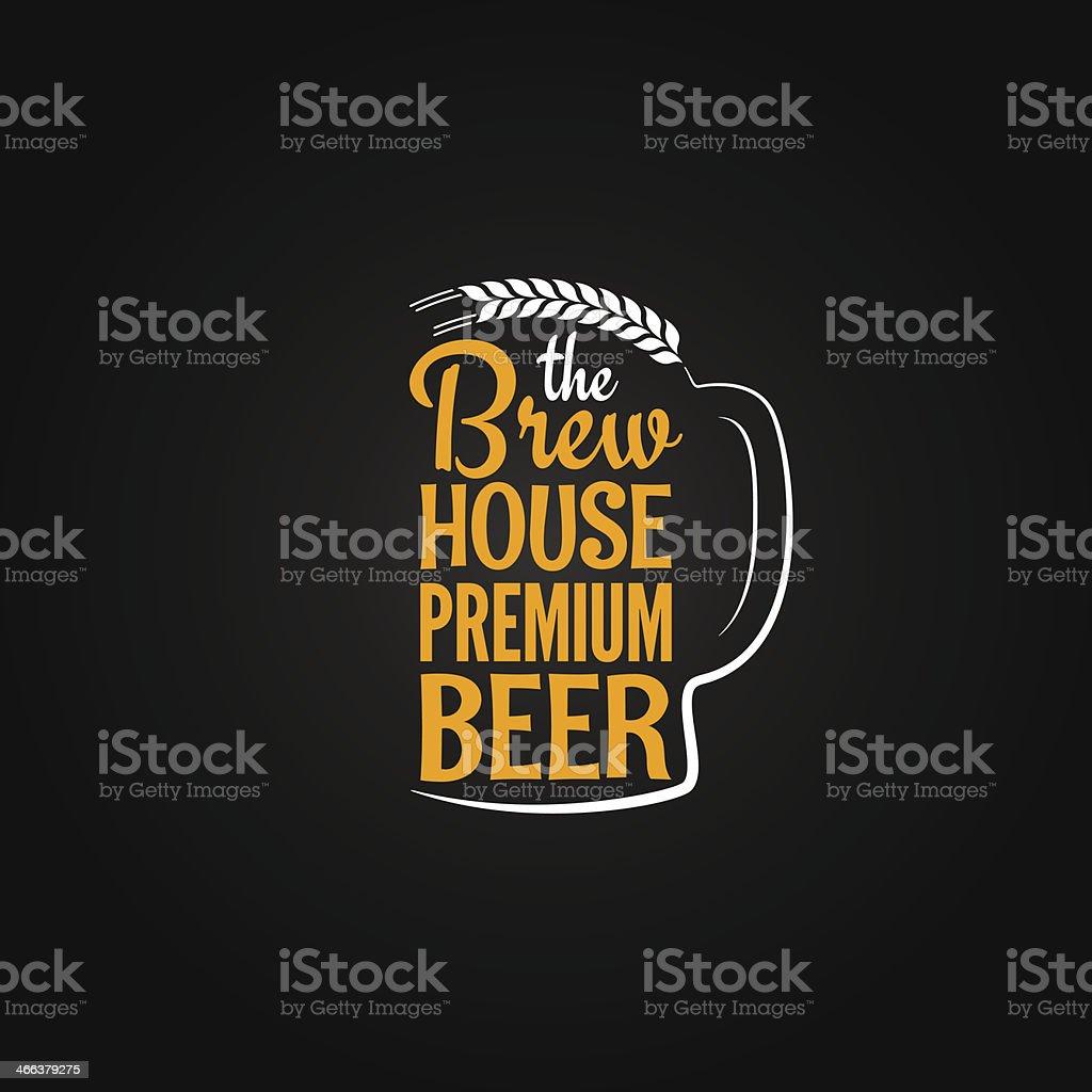 beer bottle glass house design menu background vector art illustration
