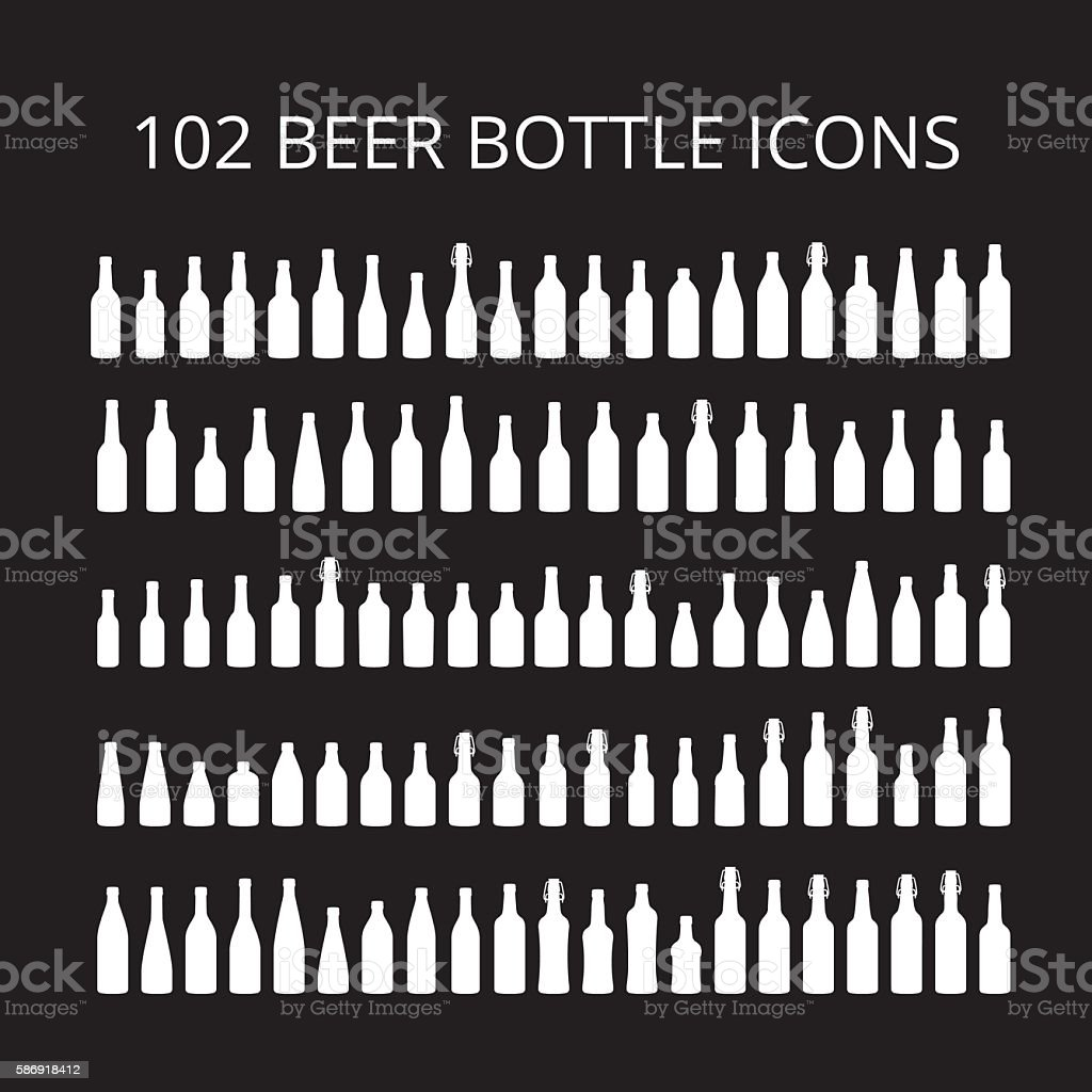 102 beer bottle icons set. All types of beer bottles. vector art illustration