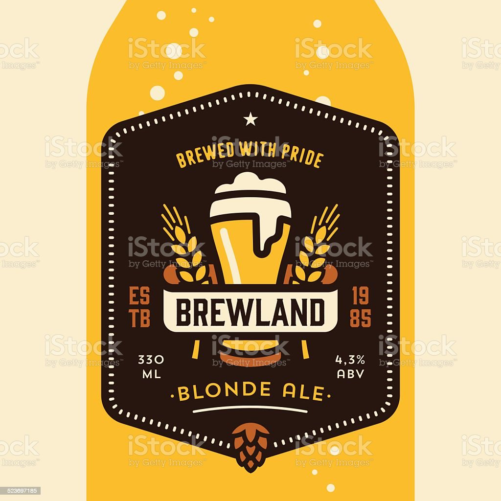 Beer bottle label design vector art illustration
