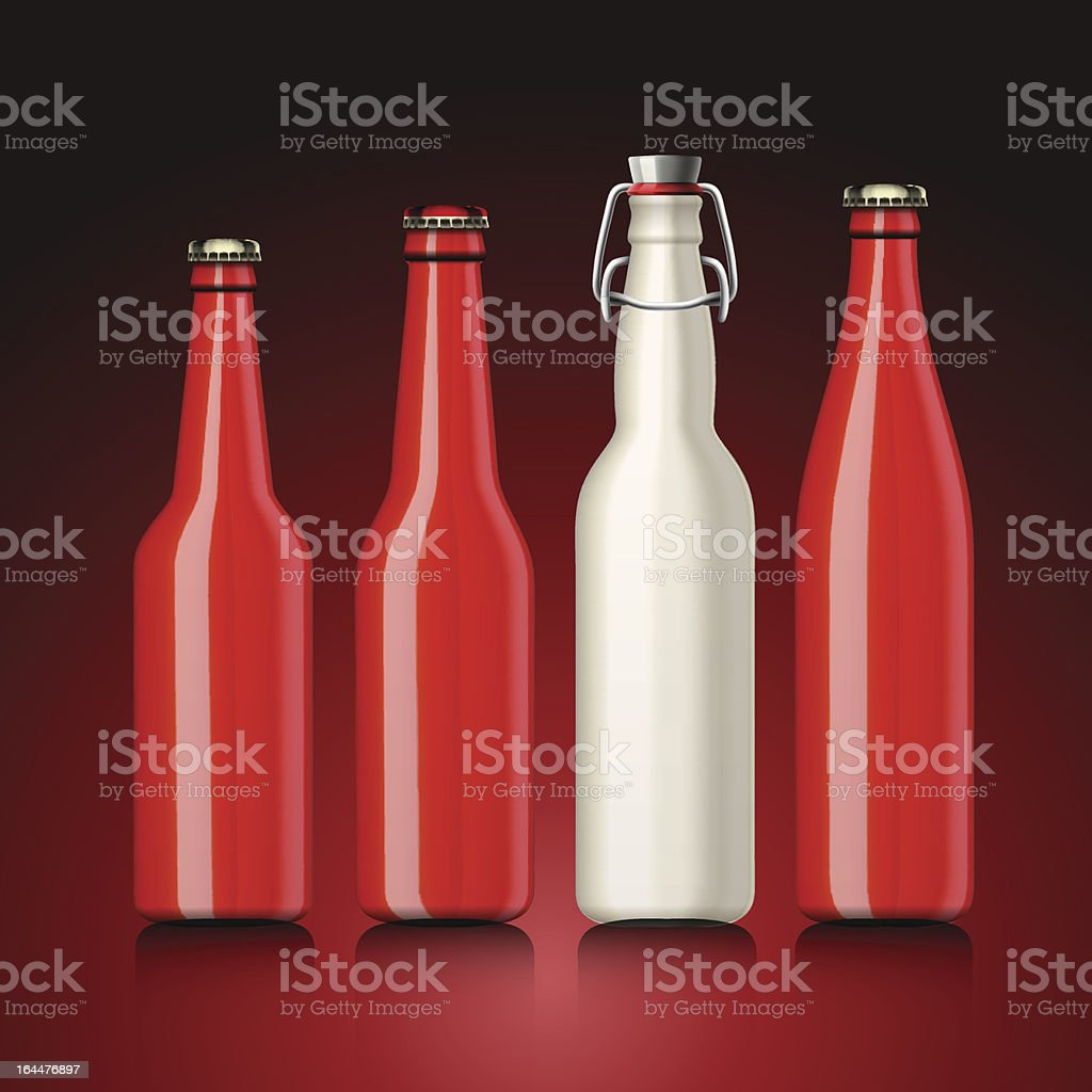 Beer bottle set with no label royalty-free stock vector art