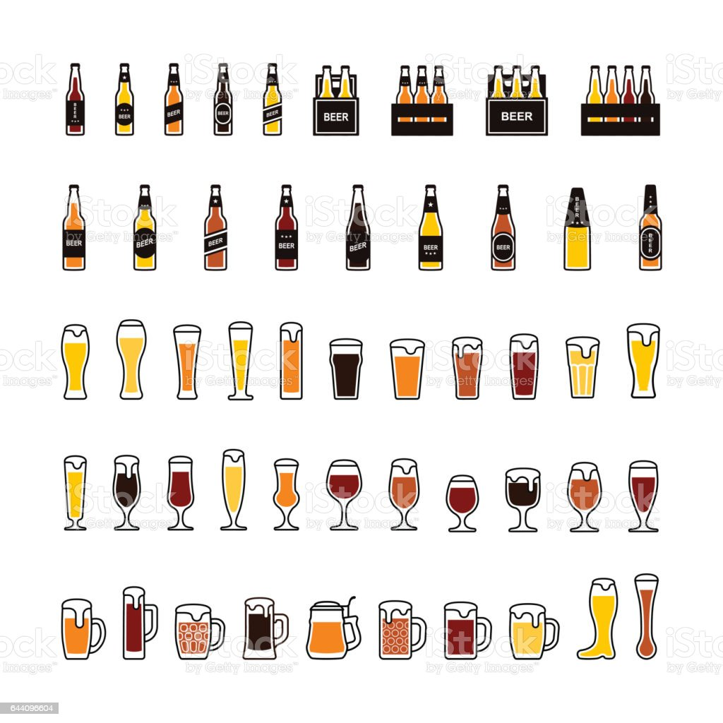 Beer bottles and glasses color icons set. Vector vector art illustration
