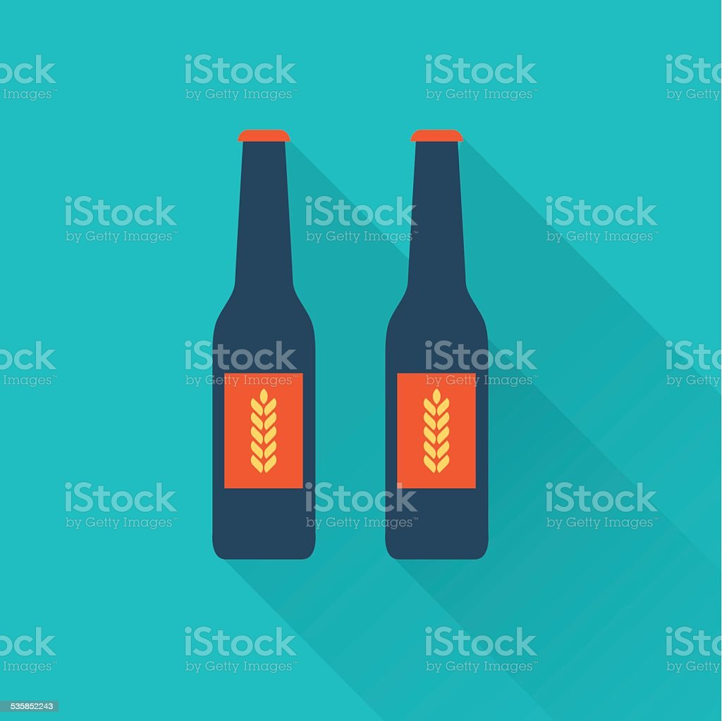 Beer bottles flat icons vector art illustration