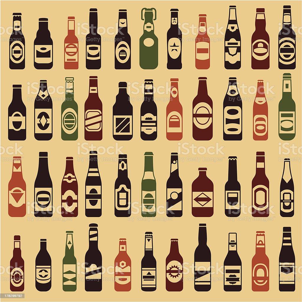 Beer bottles vector collection vector art illustration