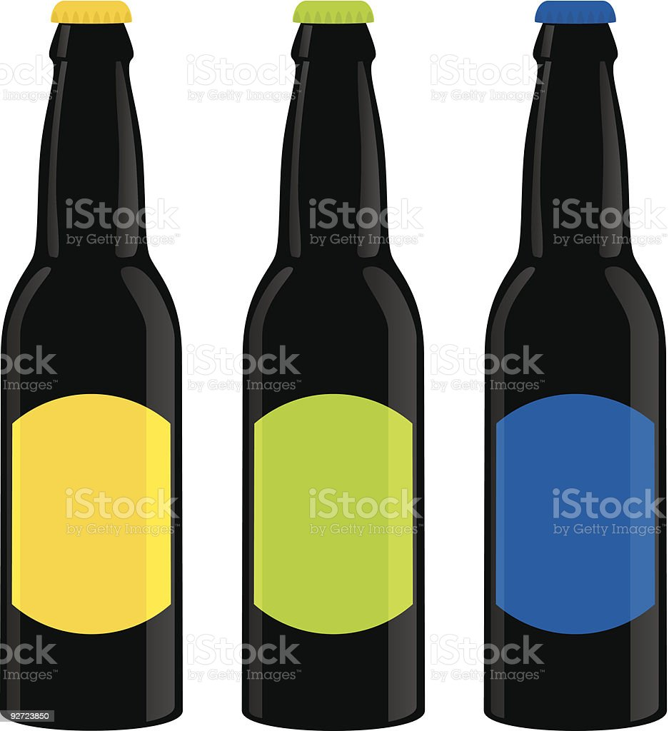 beer bottles vector art illustration
