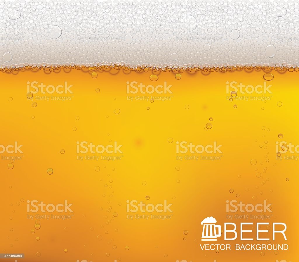 Beer bubbles close-up. vector art illustration