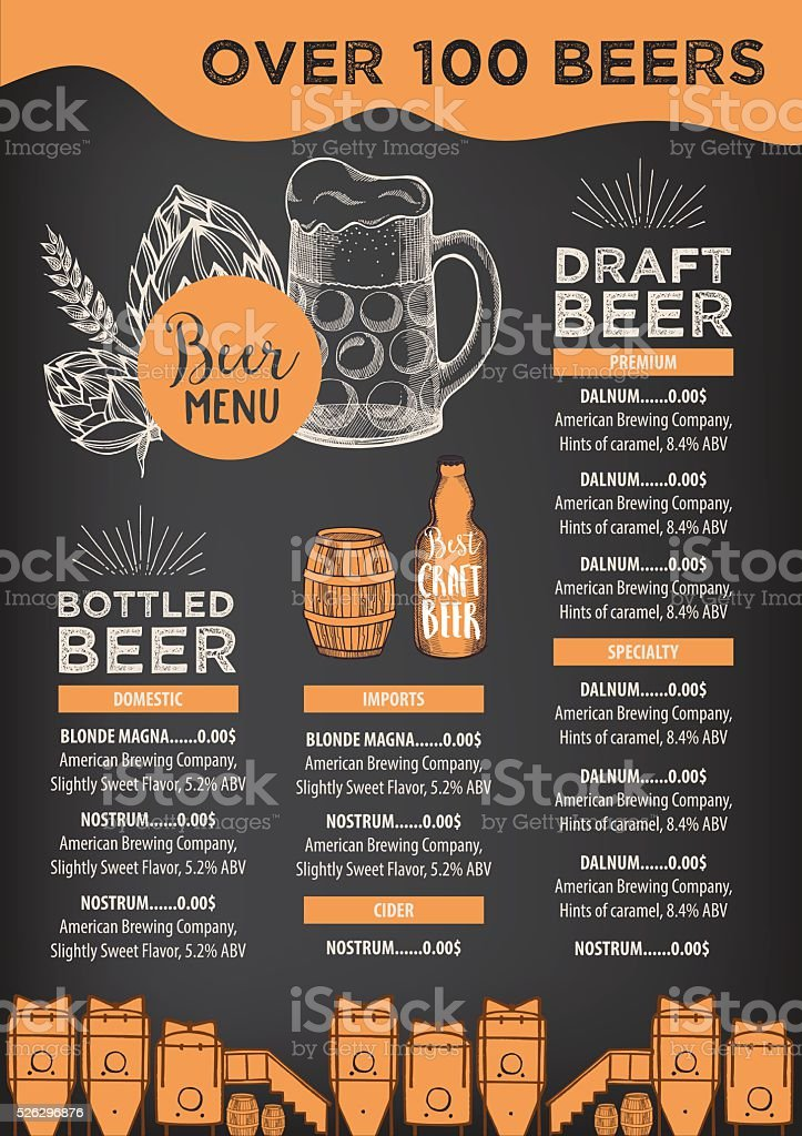 Beer Cafe Menu Template Design Stock Vector Art   Istock