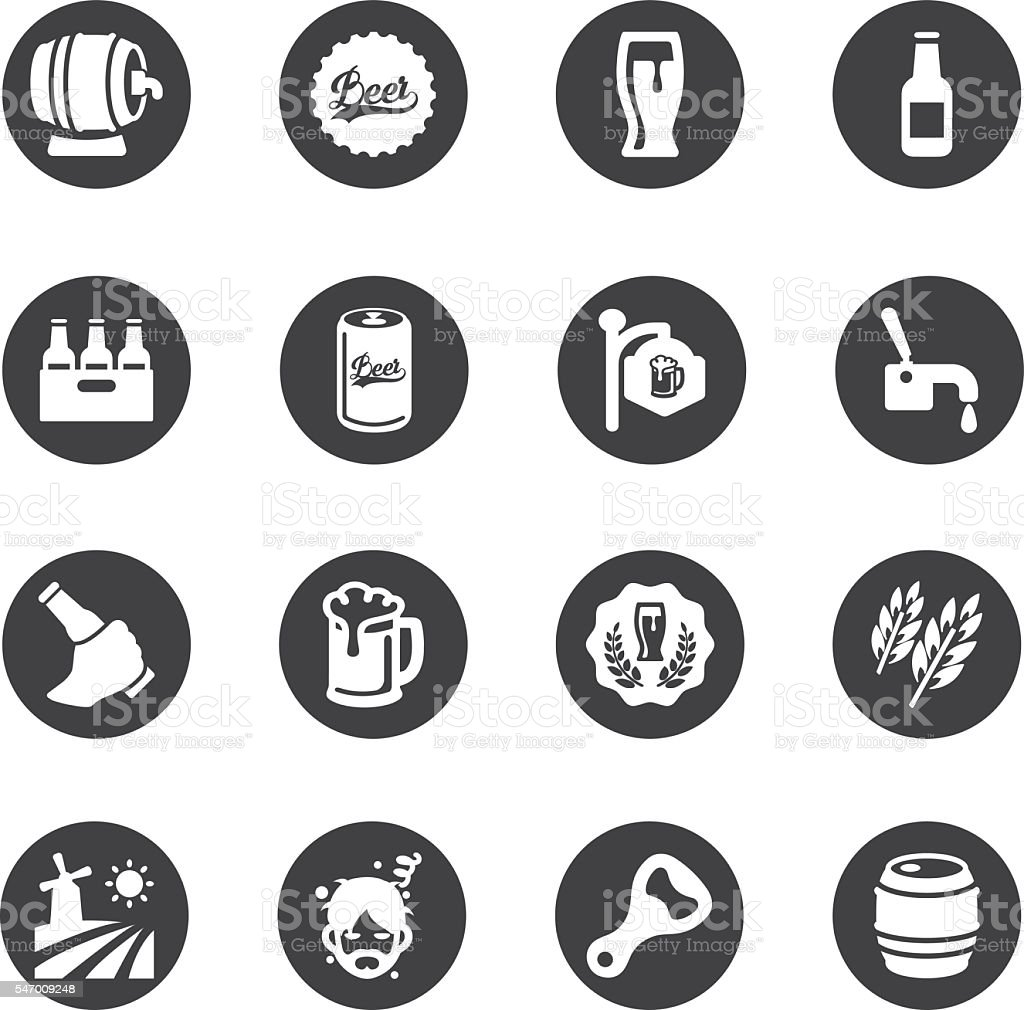Beer Circle Silhouette icons | EPS10 stock photo