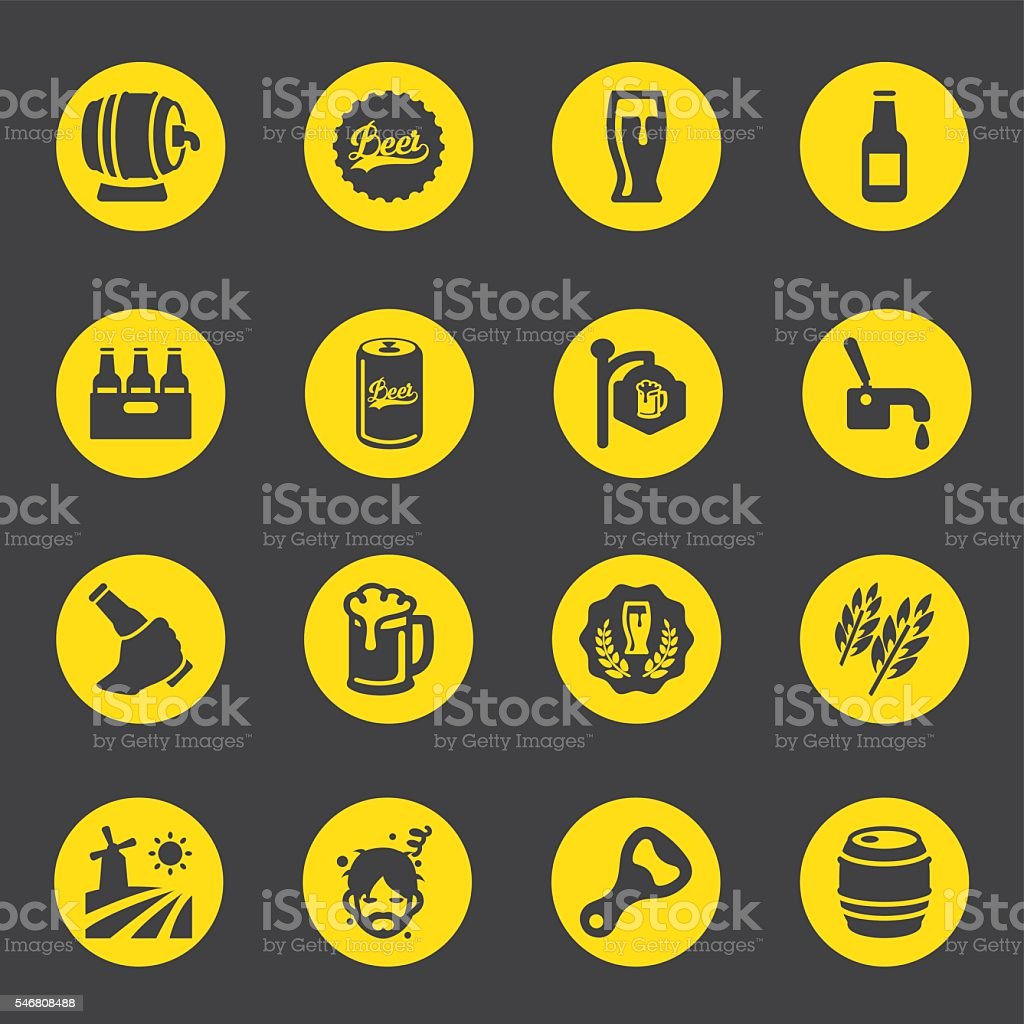 Beer Circle Yellow Black Limited icons | EPS10 vector art illustration