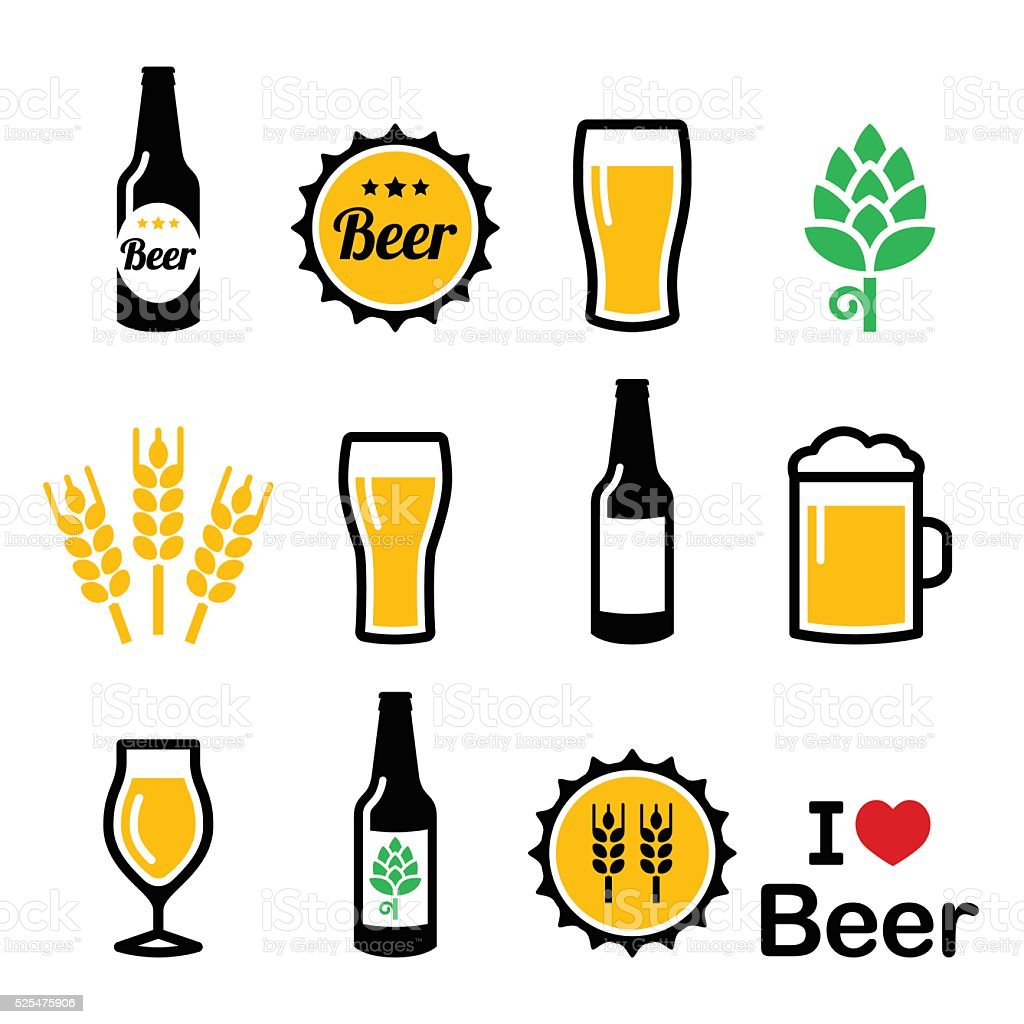 Beer colorful vector icons set - bottle, glass, pint vector art illustration