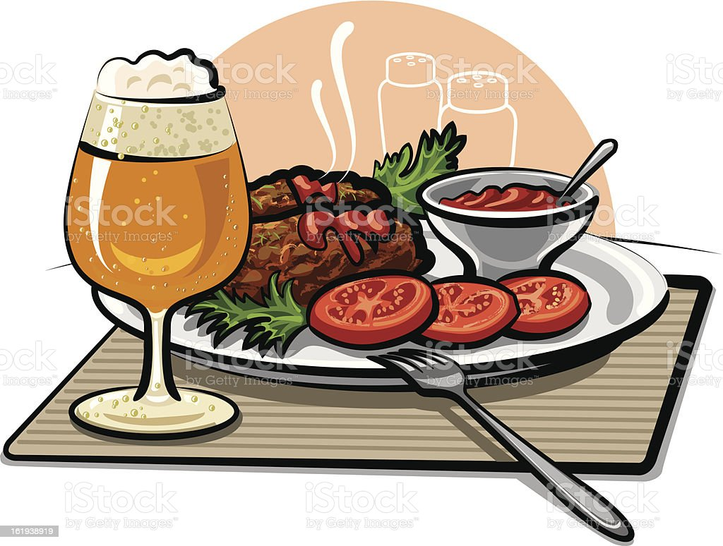 beer, cutlets and sauce royalty-free stock vector art