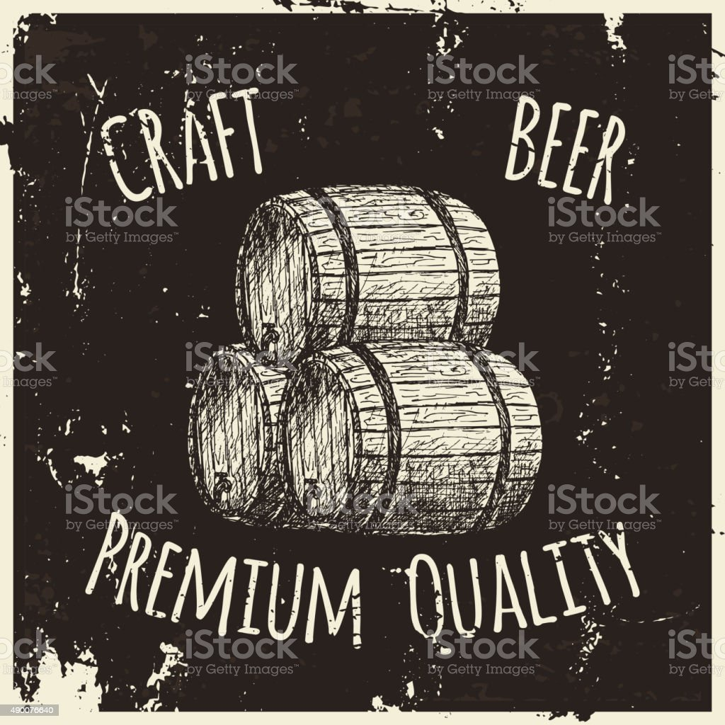 Beer. Drawing by hand. vector art illustration