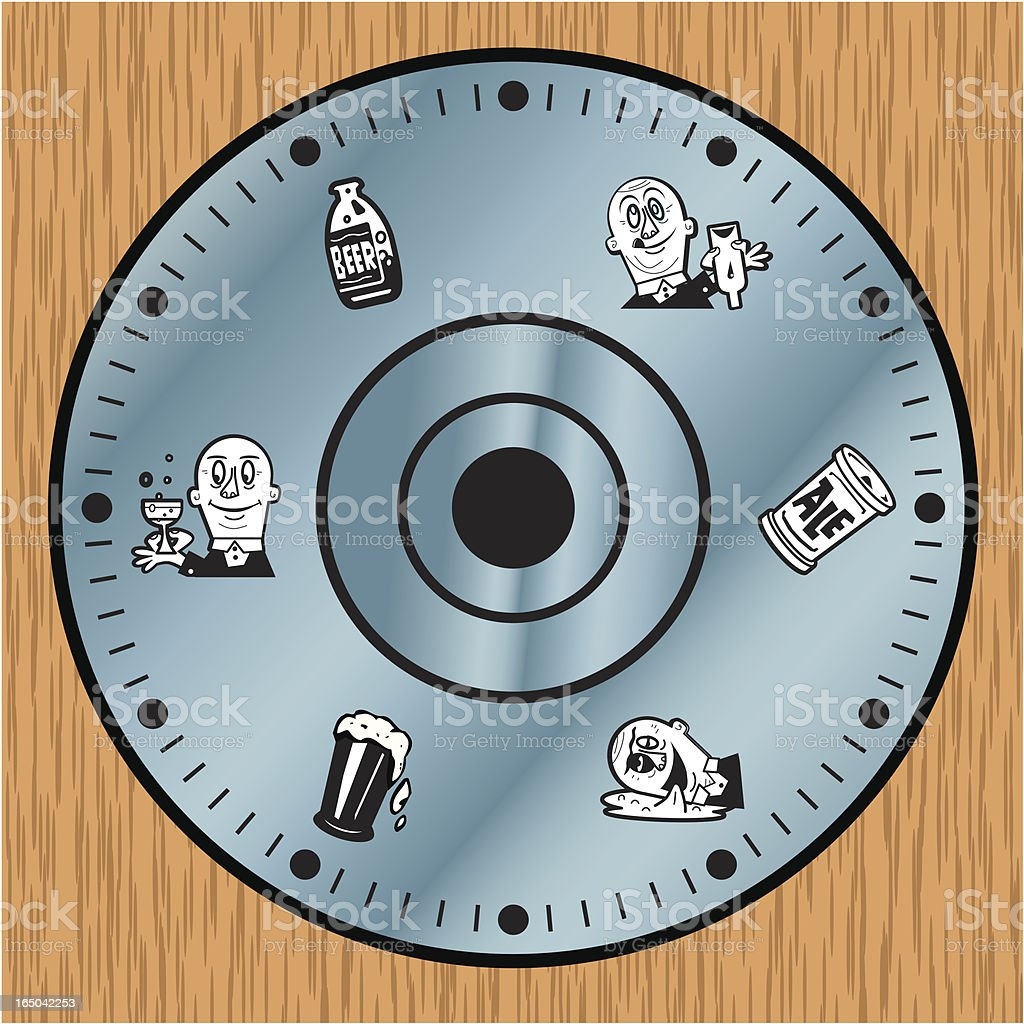 Beer Drinkers Clock vector art illustration
