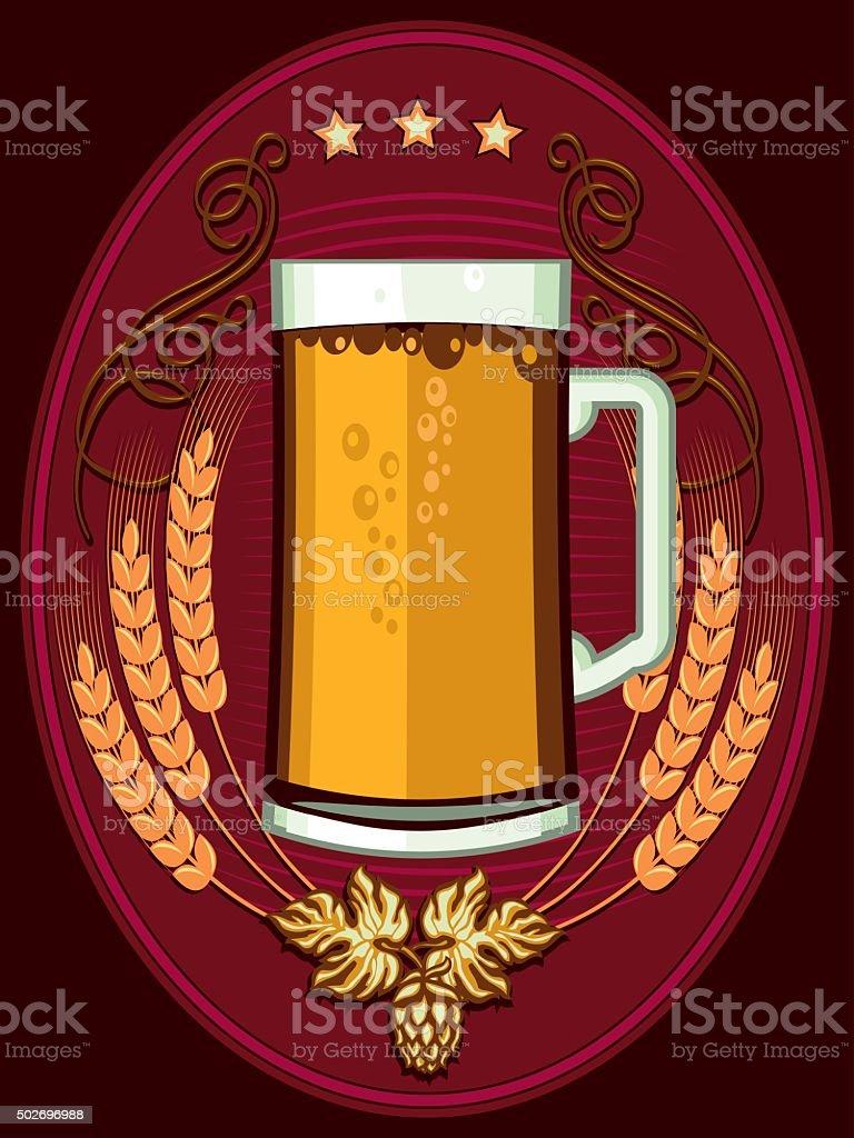Beer emblem vector art illustration