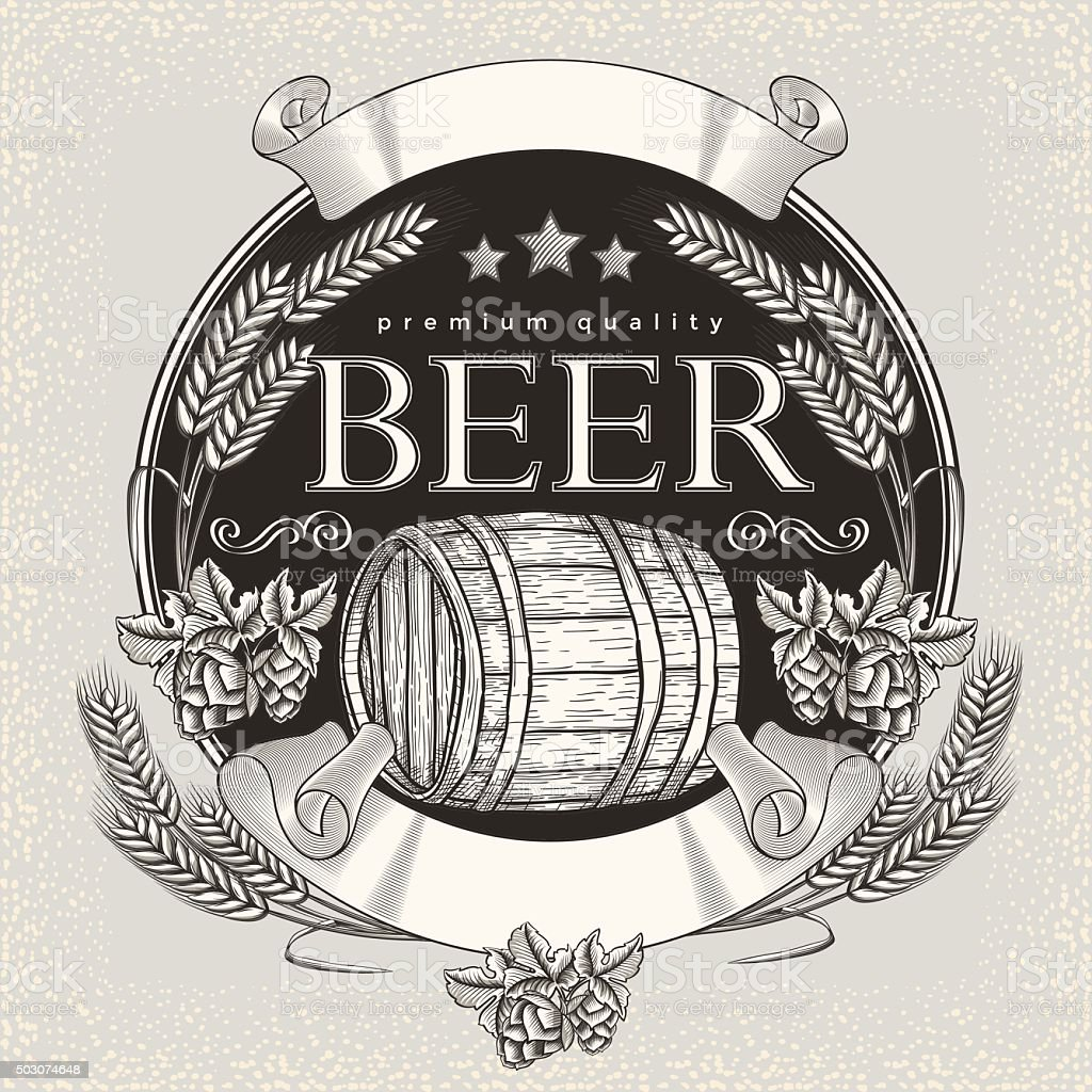Beer emblem vector art illustration