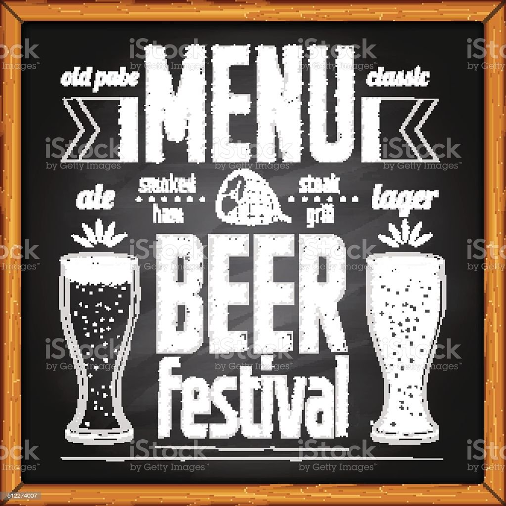 Beer festival poster on blackboard vector art illustration