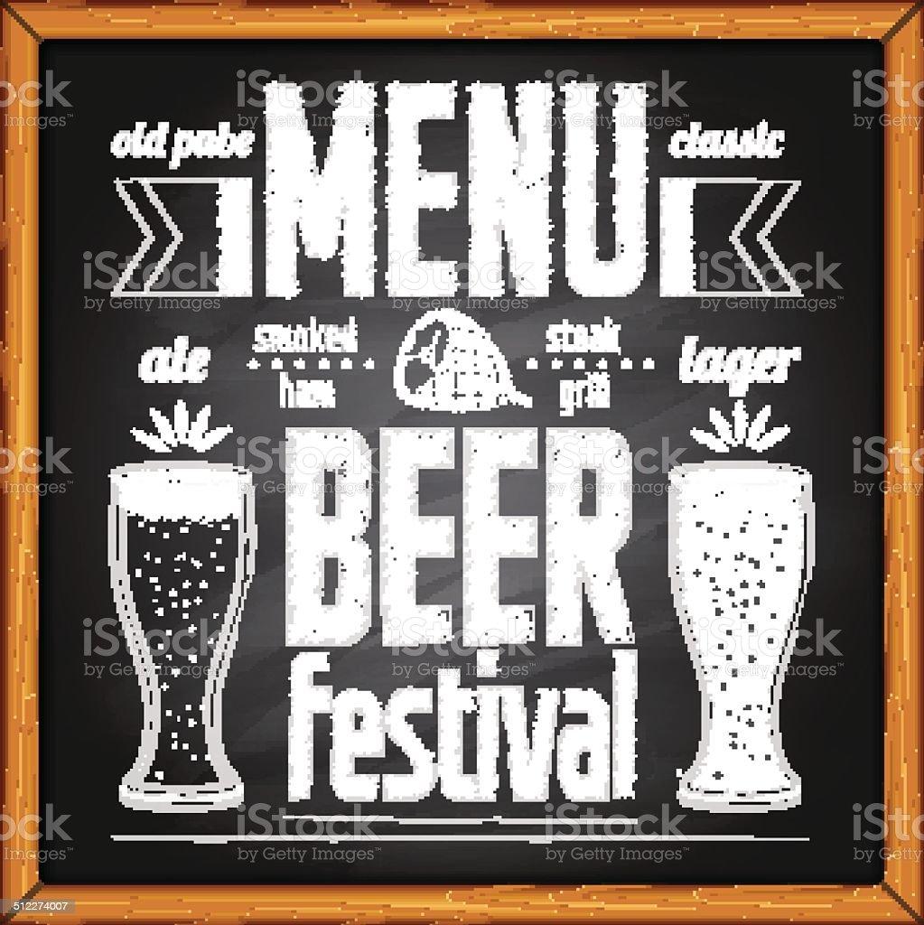 Beer festival poster on blackboard vector art illustration