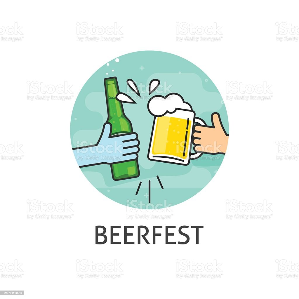 Beer festival vector logo isolated, flat outline beerfest label vector art illustration