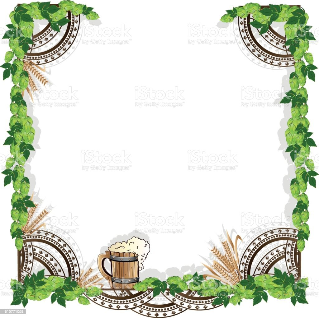 Beer frame with vintage elements vector art illustration