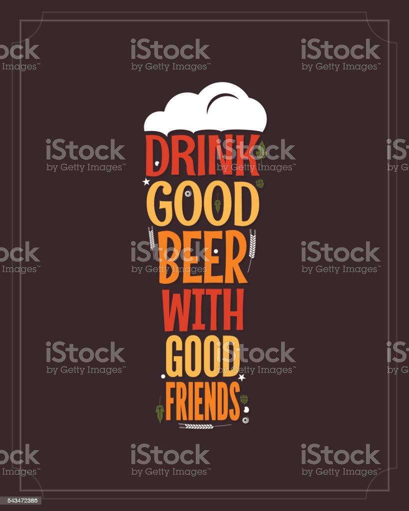 beer glass concept slogan background vector art illustration