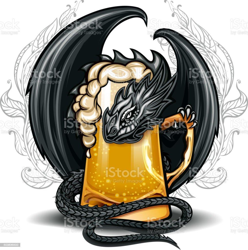 Beer glass  Dragon vector art illustration