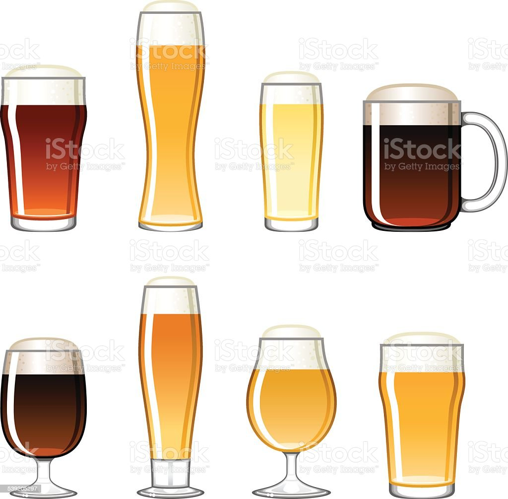 Beer Glass Icons Set vector art illustration