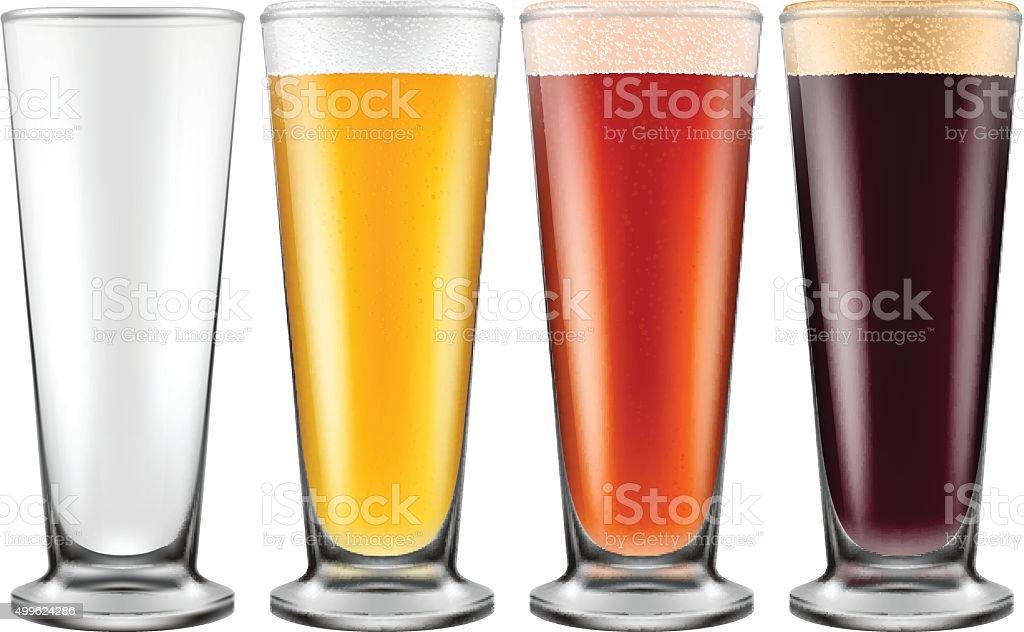 Beer glass in four color schemes. vector art illustration