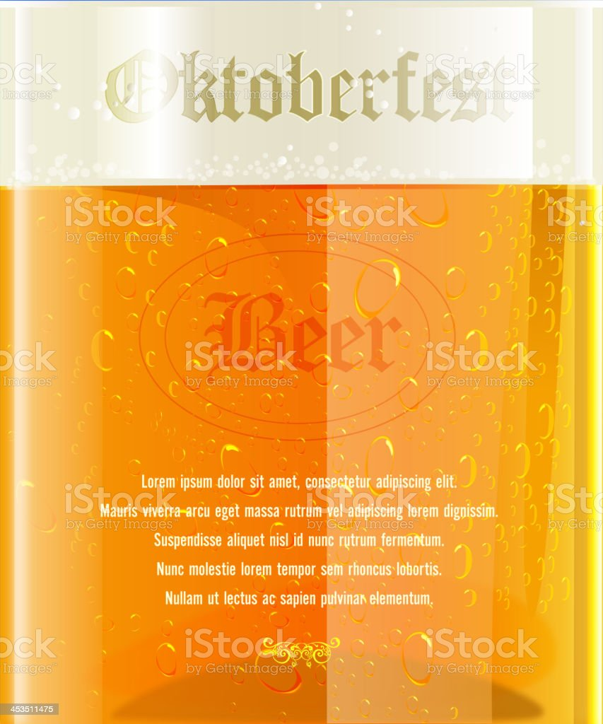 Beer Glass - Oktoberfest Celebration Background royalty-free stock vector art