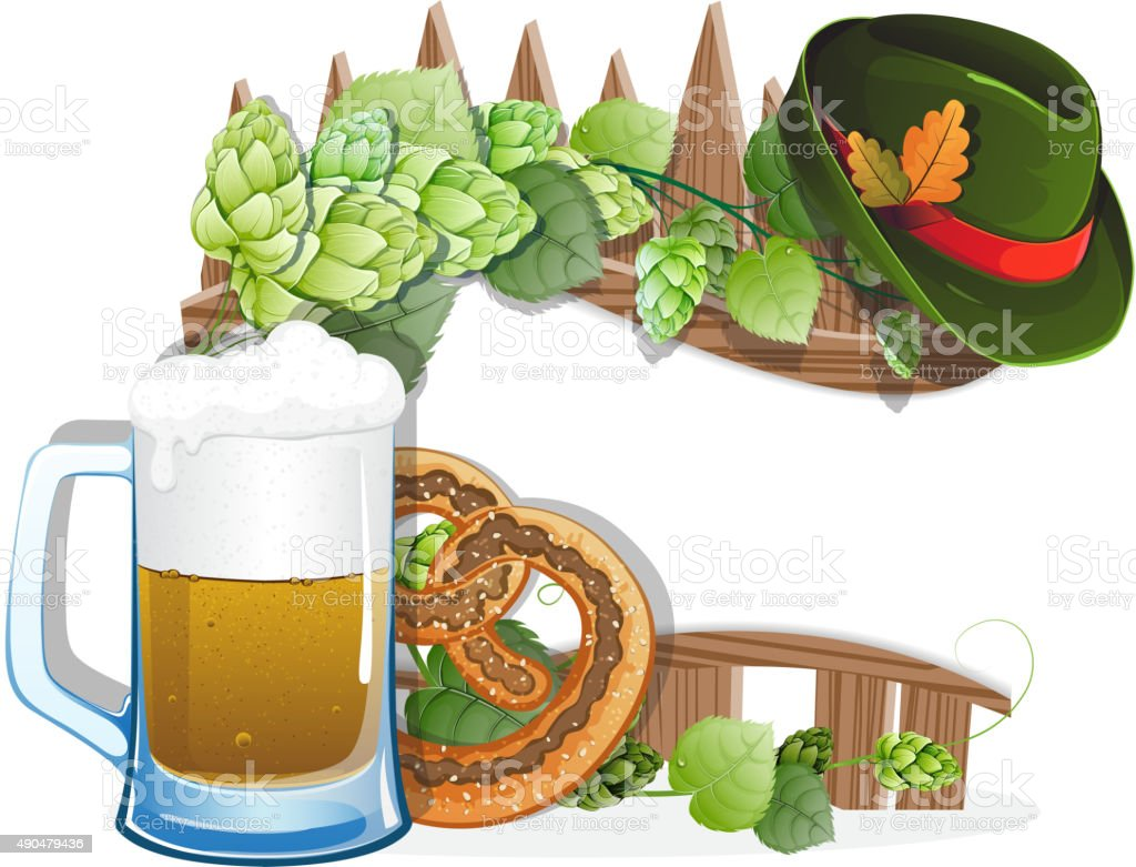 Beer glass, pretzel and  German hat vector art illustration