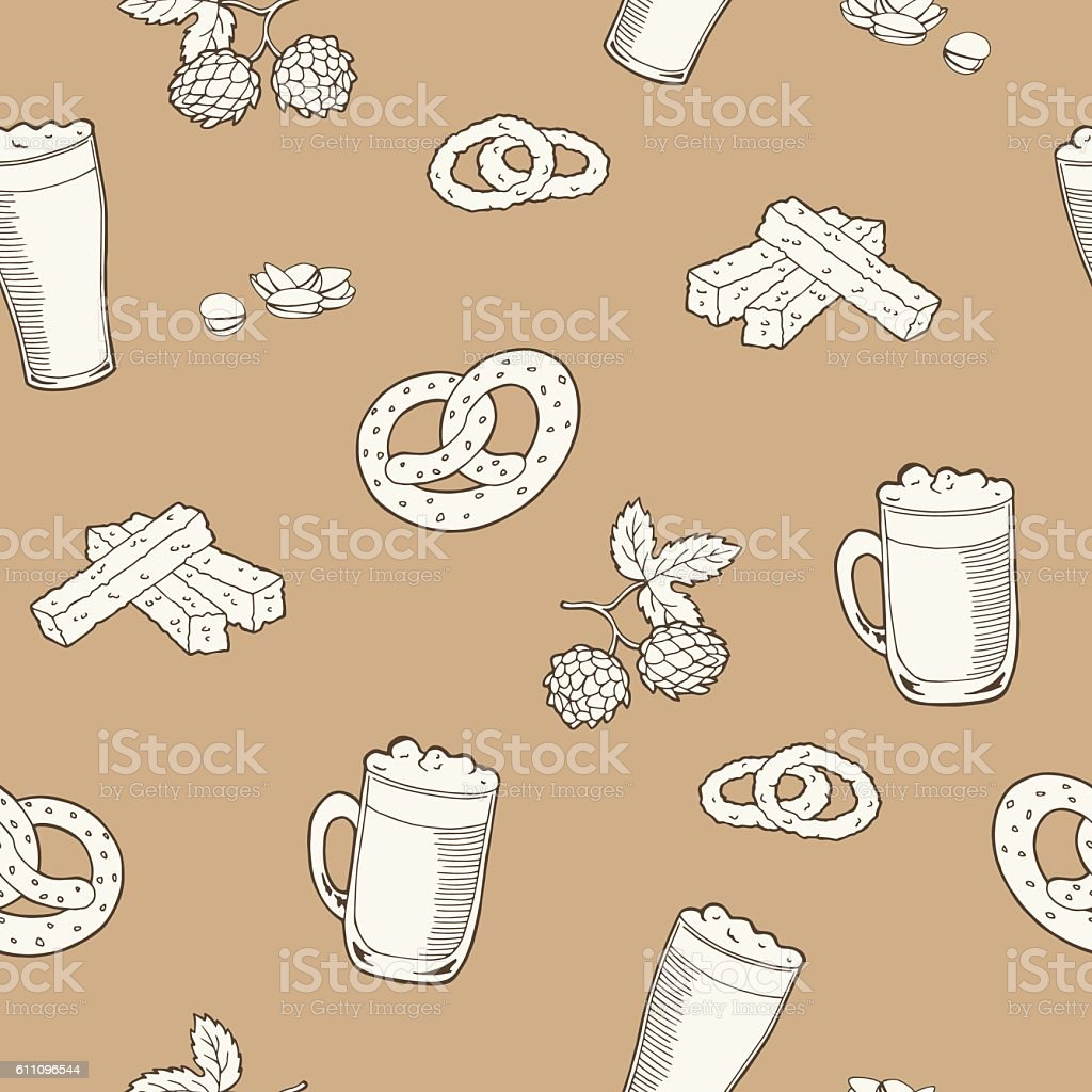 Beer glass snack graphic beige brown seamless pattern illustration vector vector art illustration