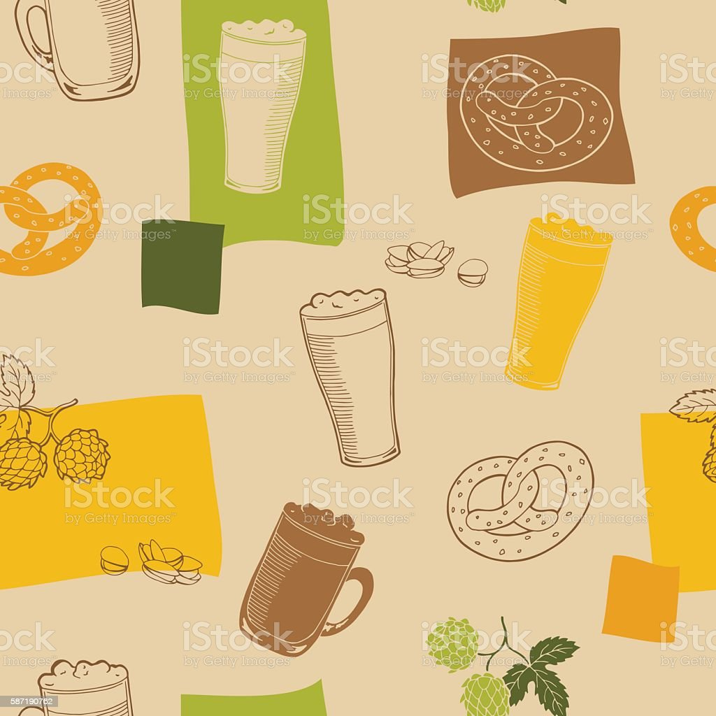 Beer glass snack graphic beige green color seamless pattern vector vector art illustration