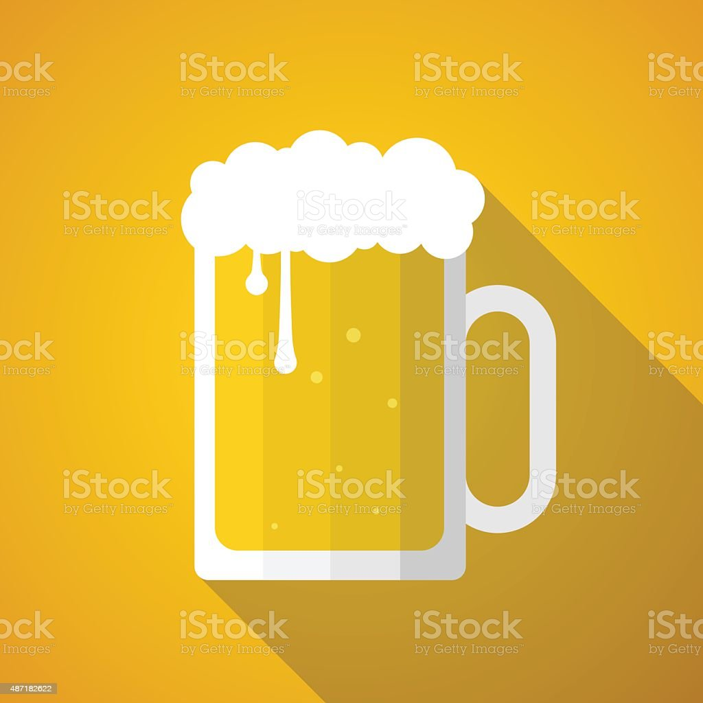 Beer glass with bubbles and long shadow. vector art illustration