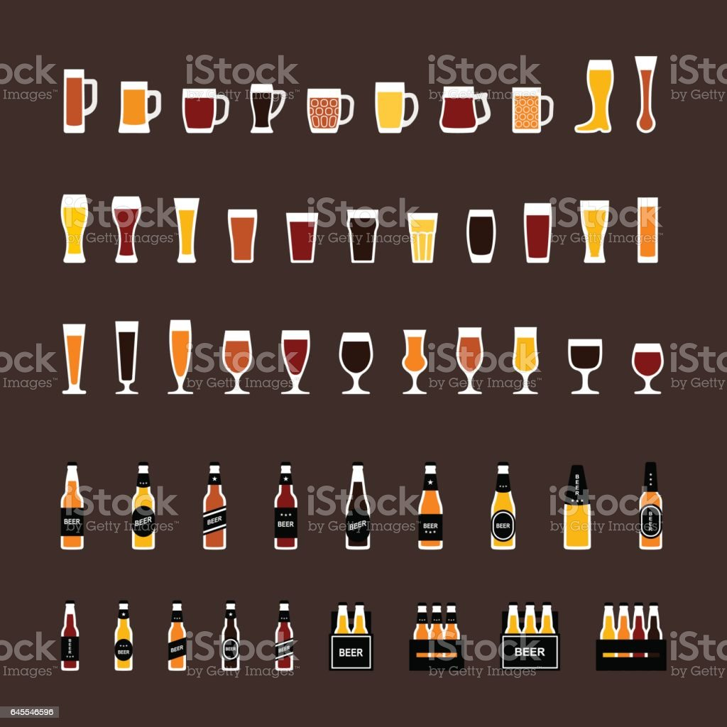 Beer glasses and bottles colored icons set in flat style. vector art illustration