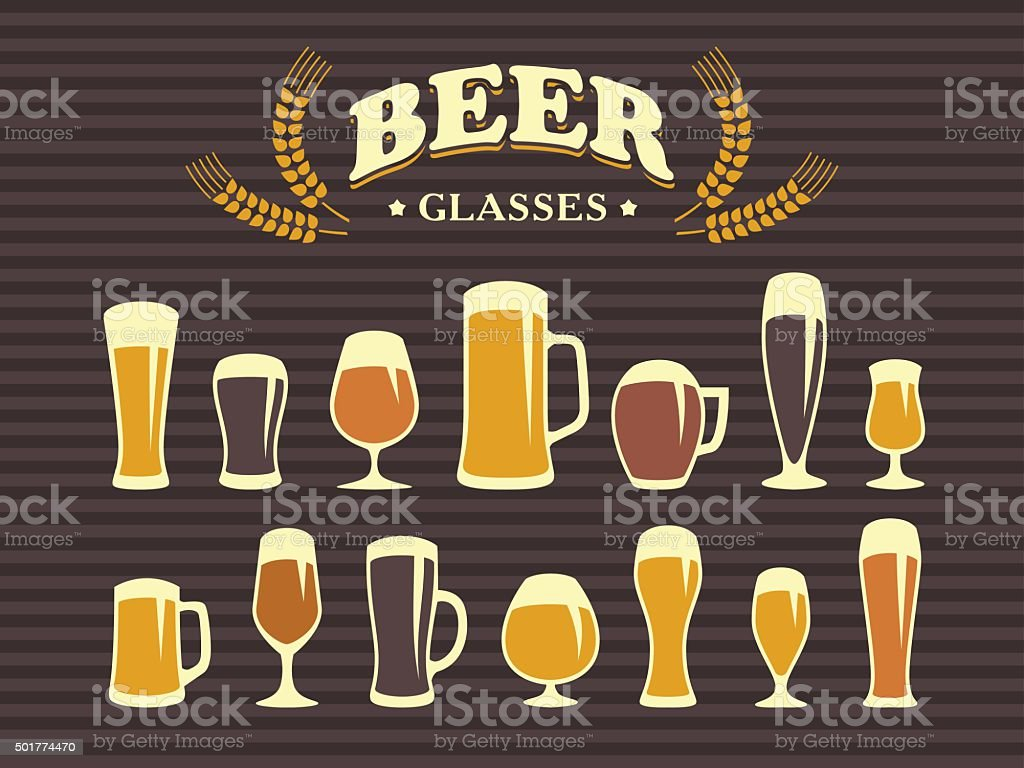 Beer glasses and mugs vector art illustration