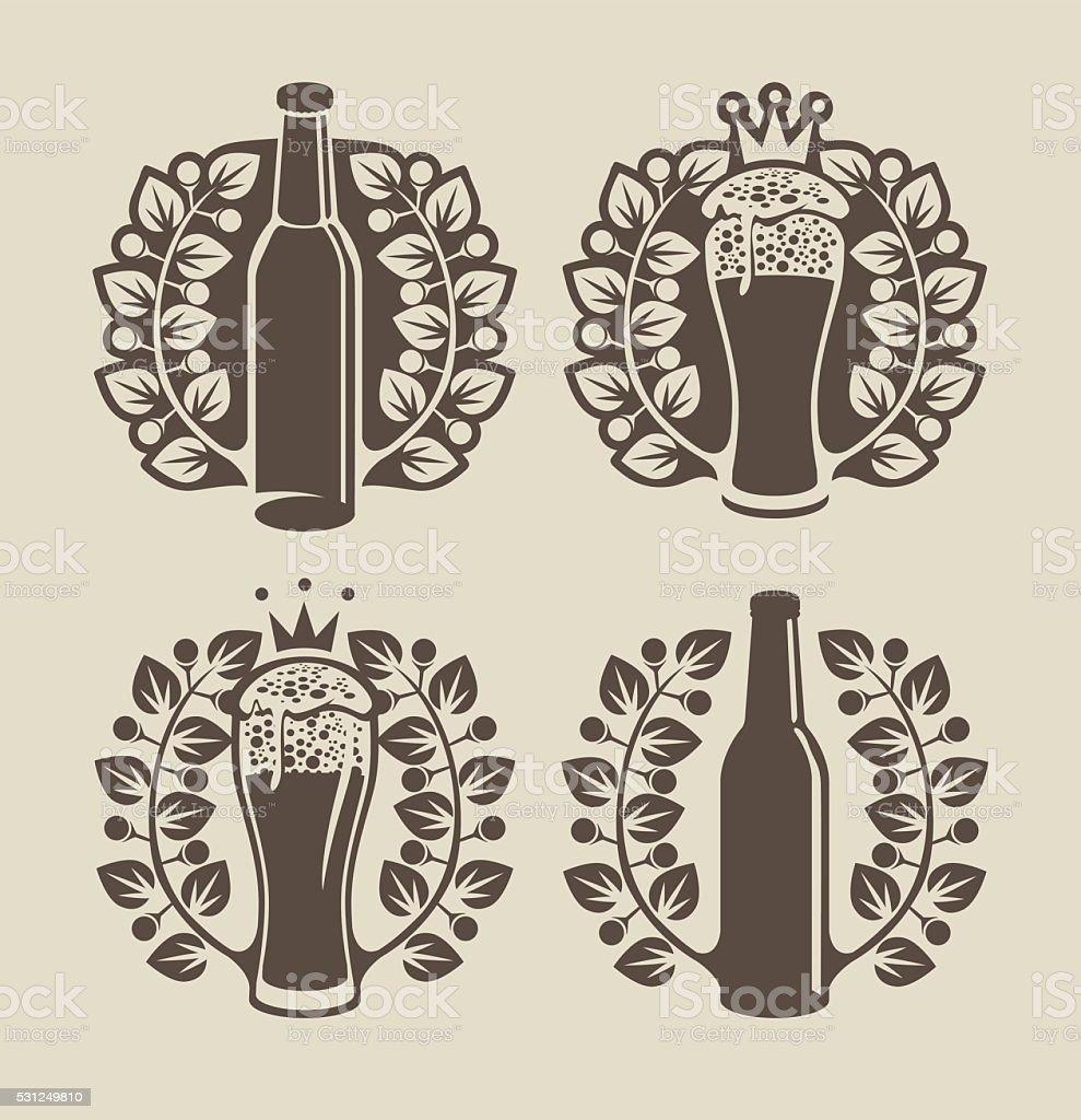 beer glasses, bottle and laurel wreath vector art illustration