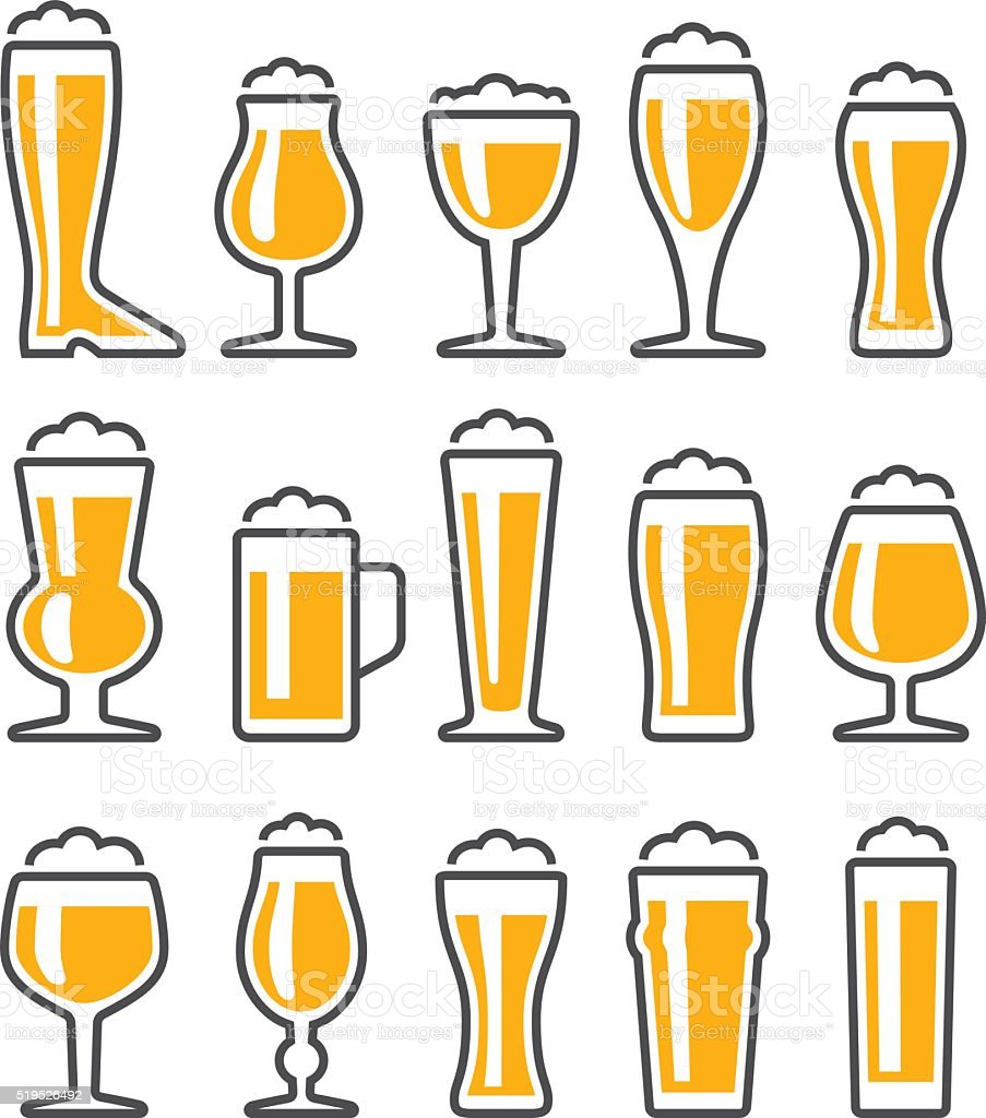 Beer Glasses Icon Set vector art illustration