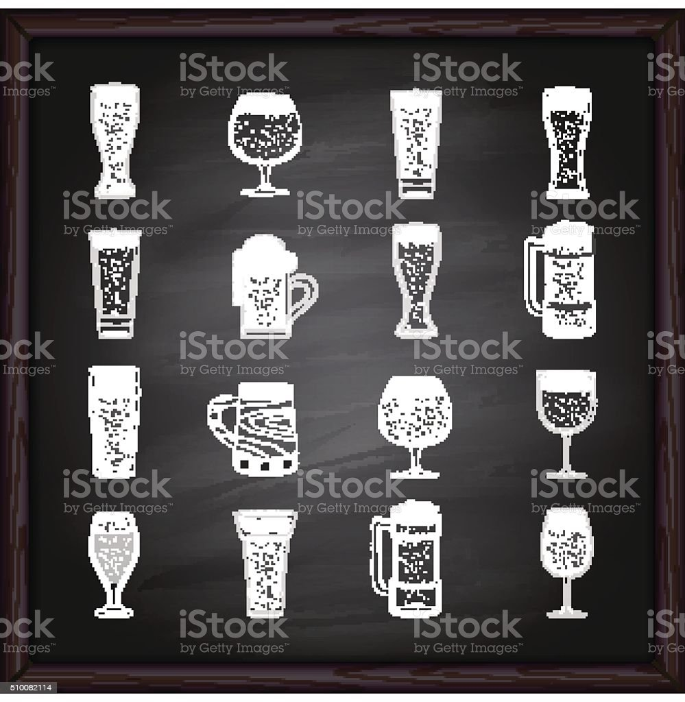 Beer glasses icons on blackboard vector art illustration