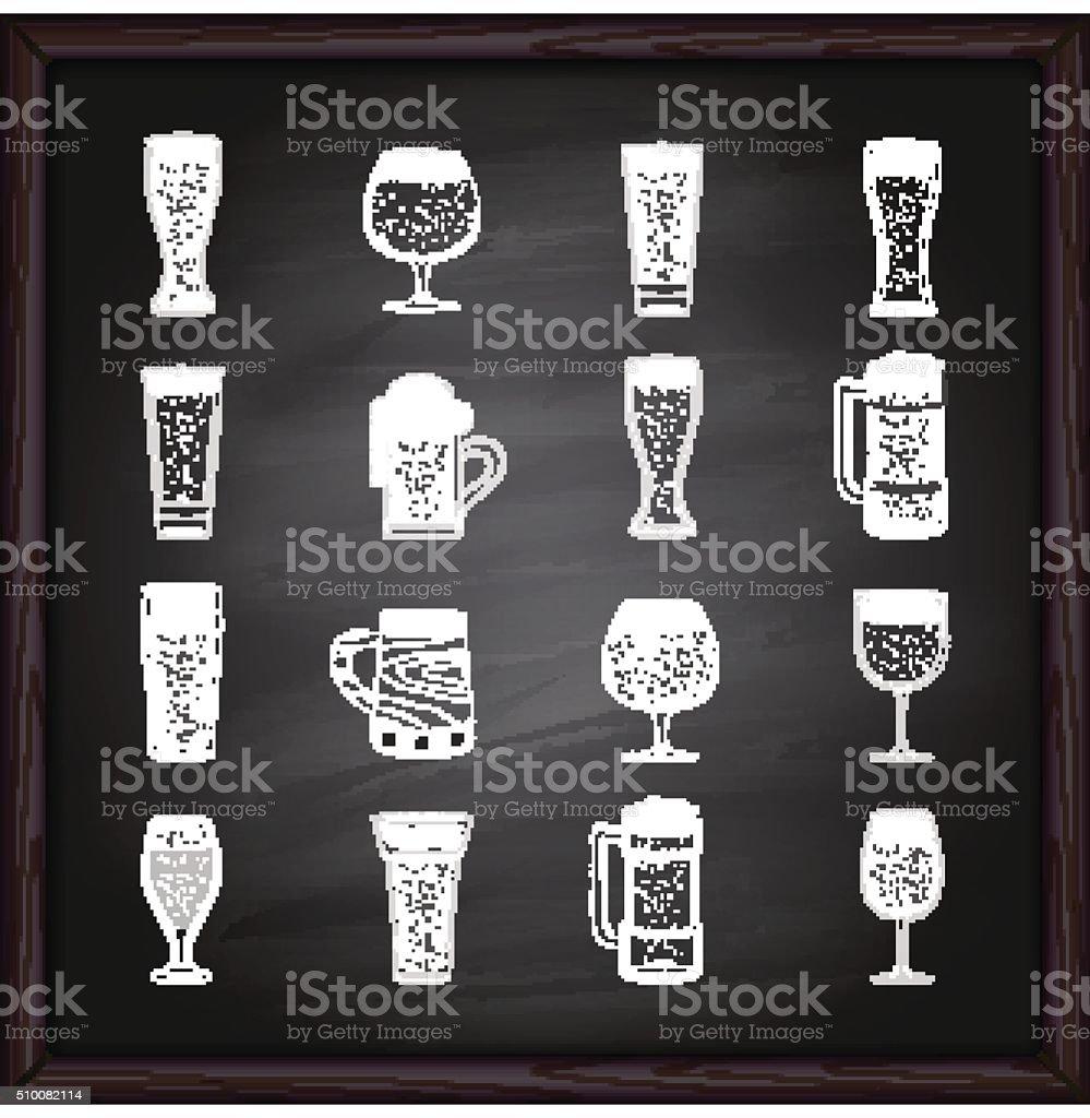 Beer glasses icons on blackboard vector art illustration