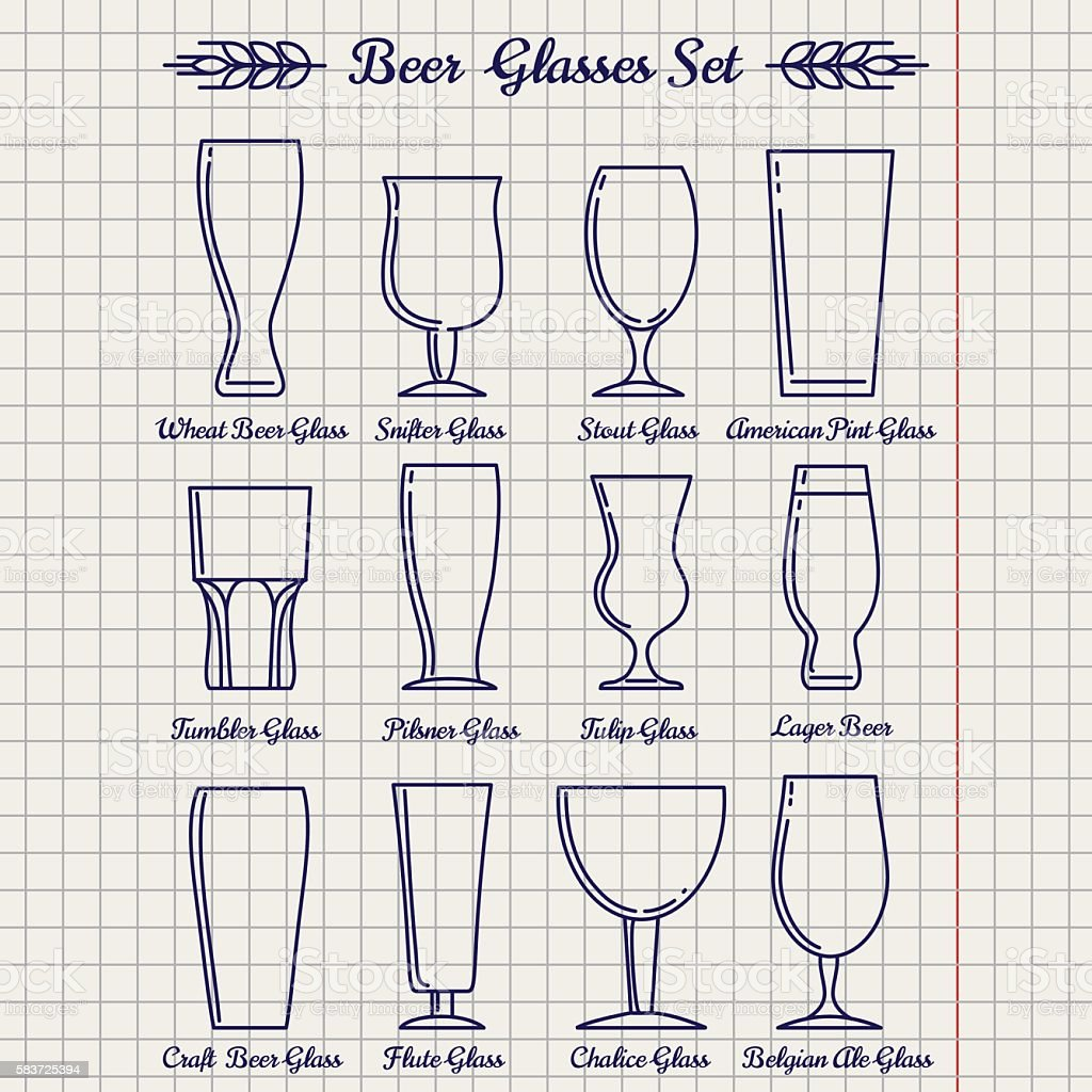 Beer glasses line icons set vector art illustration