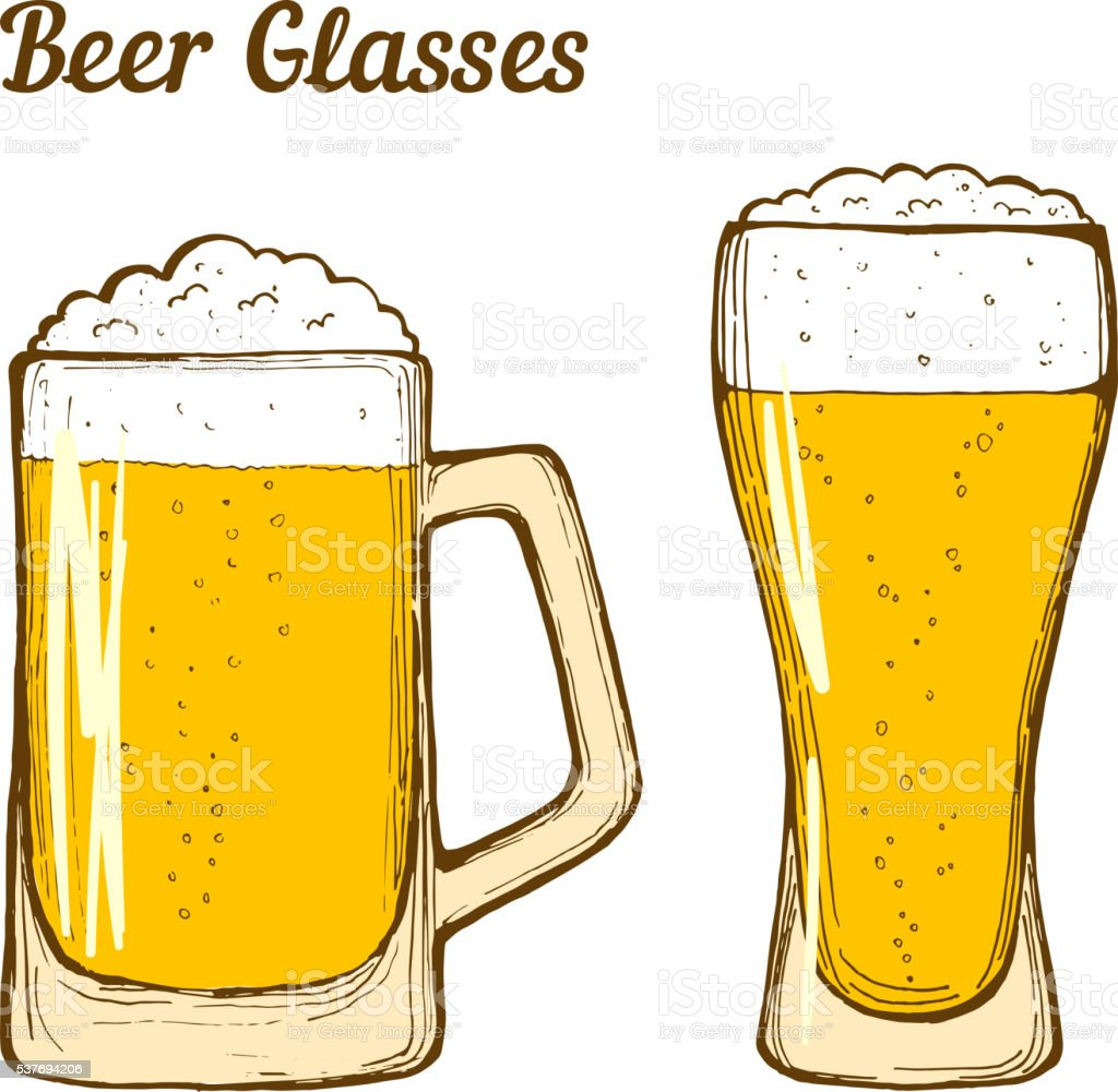 Beer glasses vector art illustration