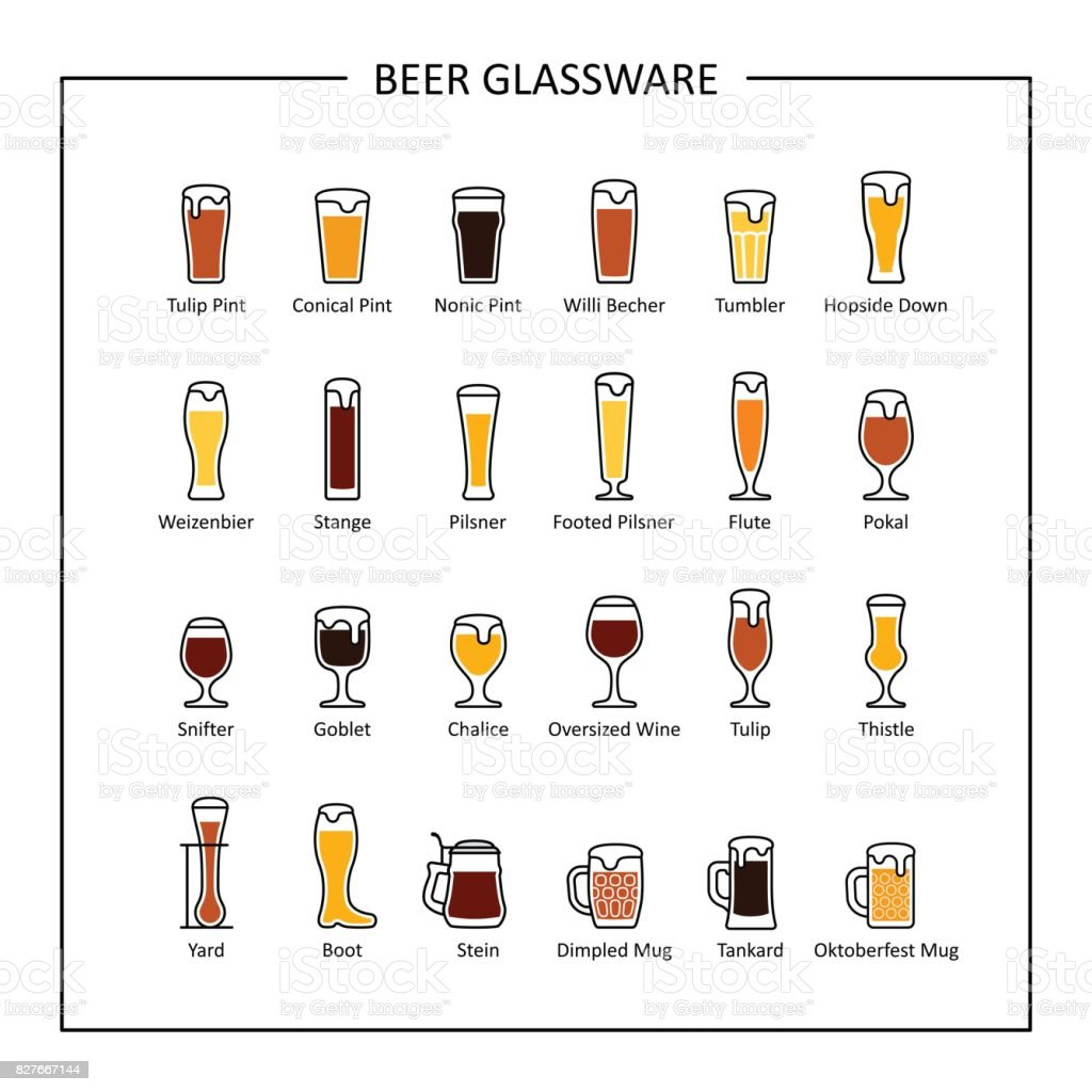 Beer glassware guide, colored icons on white background. Vector vector art illustration