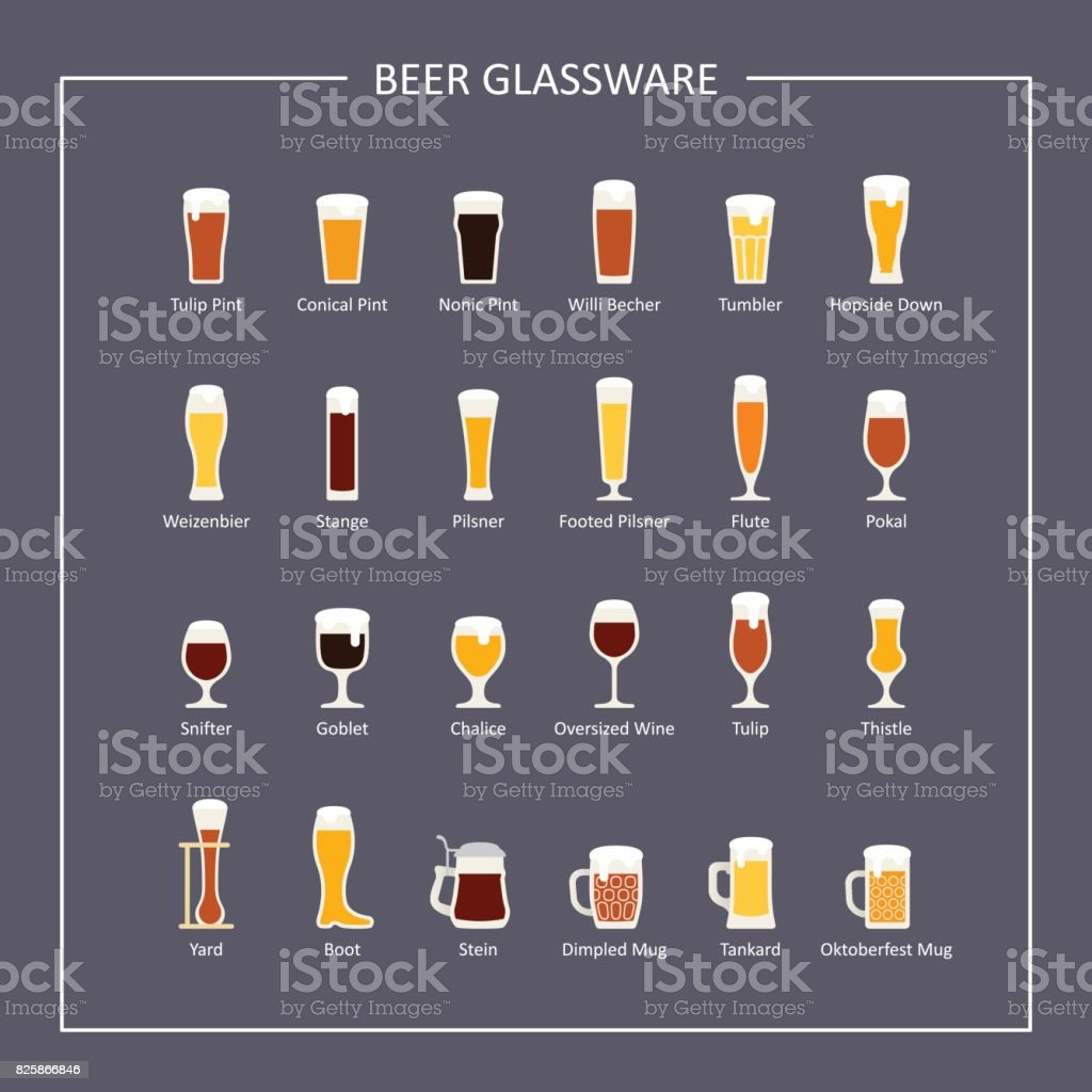 Beer glassware guide, flat icons on dark background. Vector vector art illustration